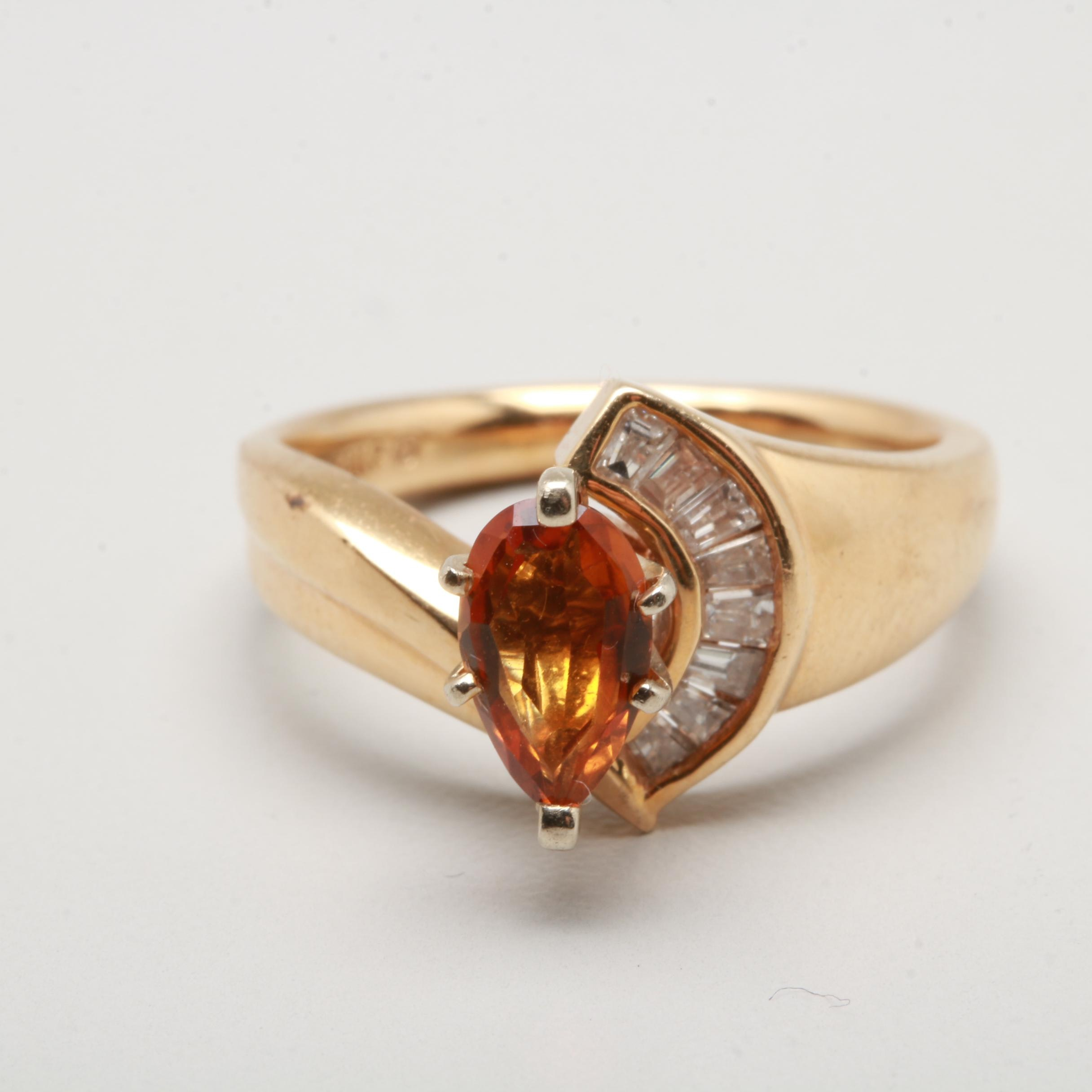 14K Yellow Gold and White Gold Citrine and Diamond Ring