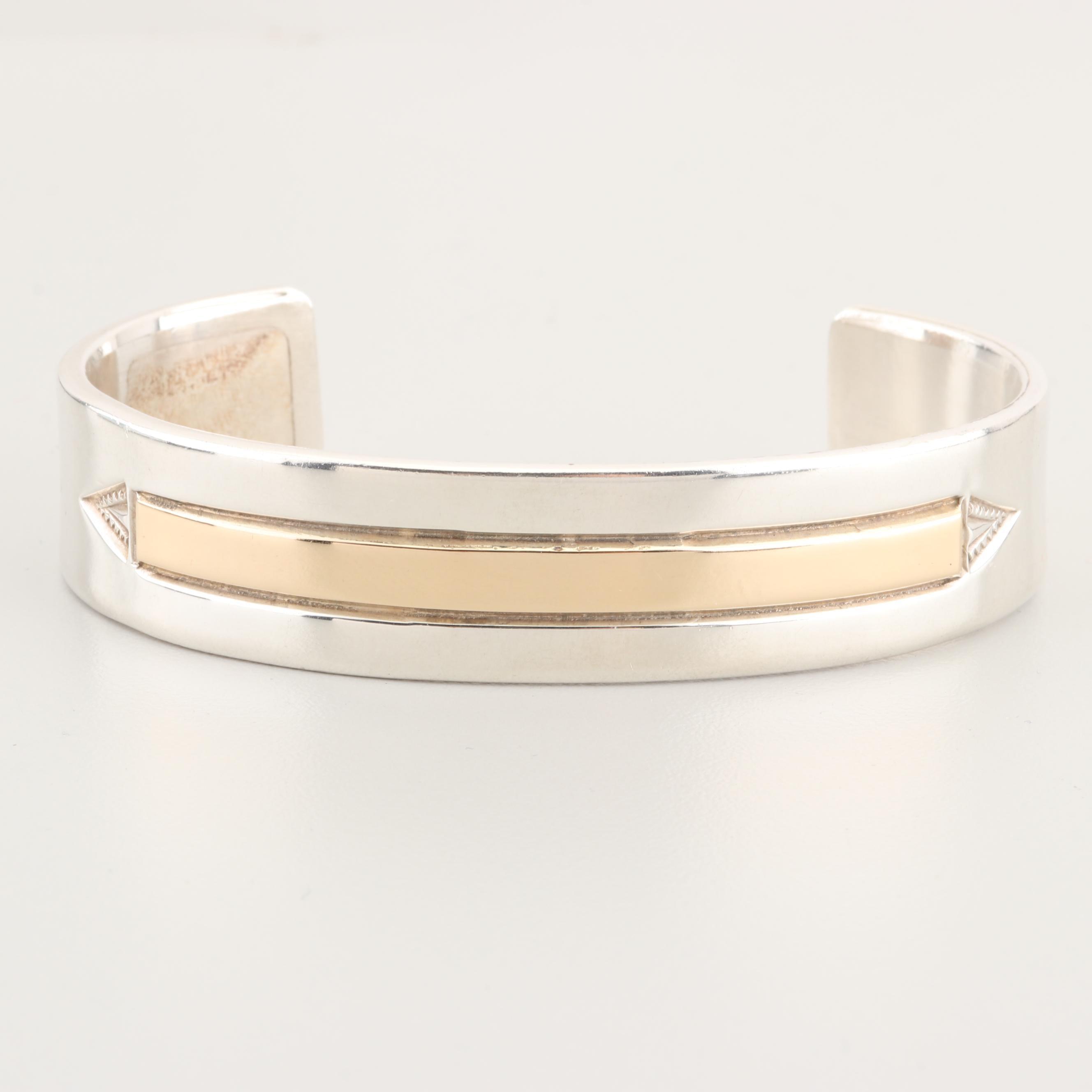 Harold J. Southwest Style Sterling Silver 14K Gold Accented Cuff Bracelet