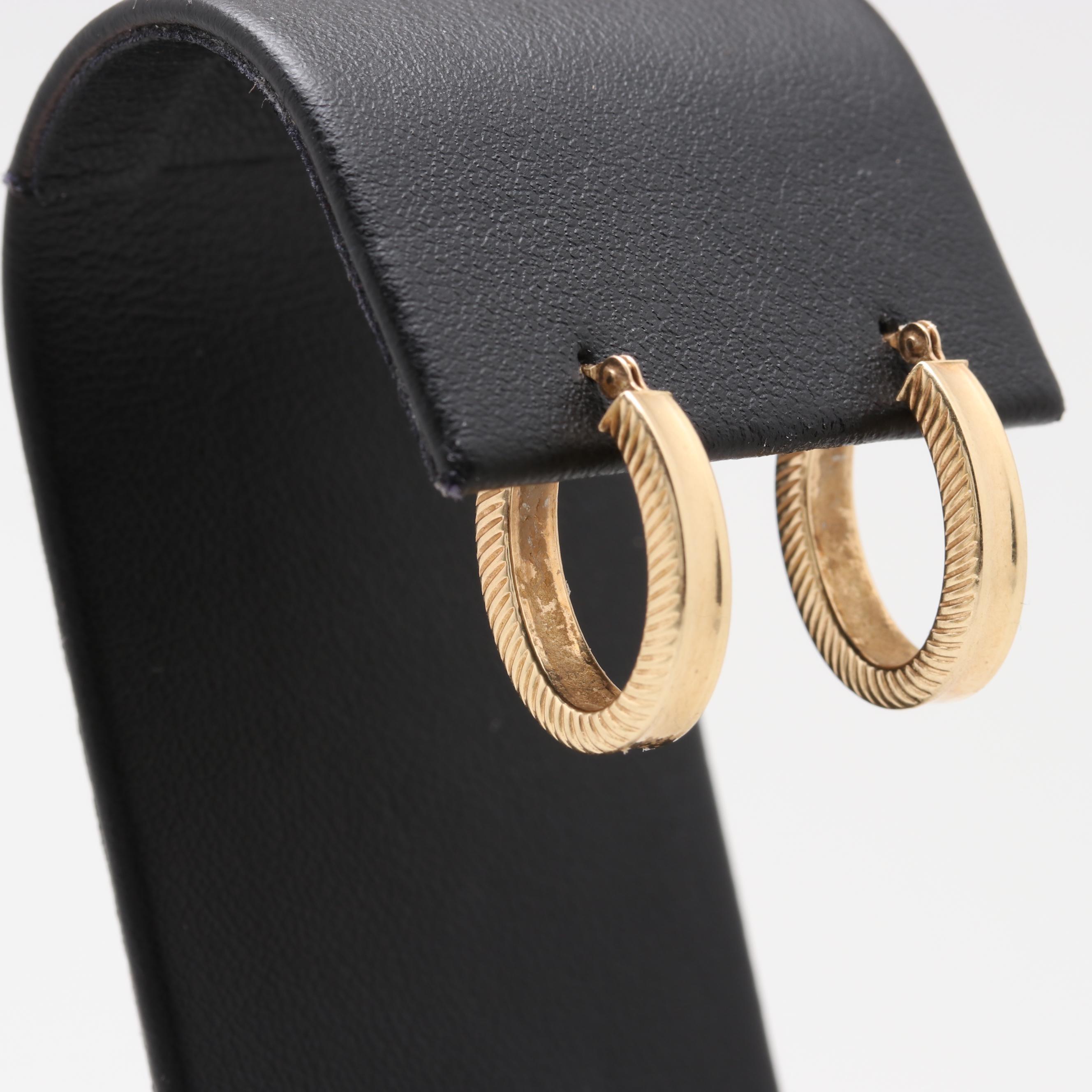 14K Yellow Gold Oval Drop Earrings
