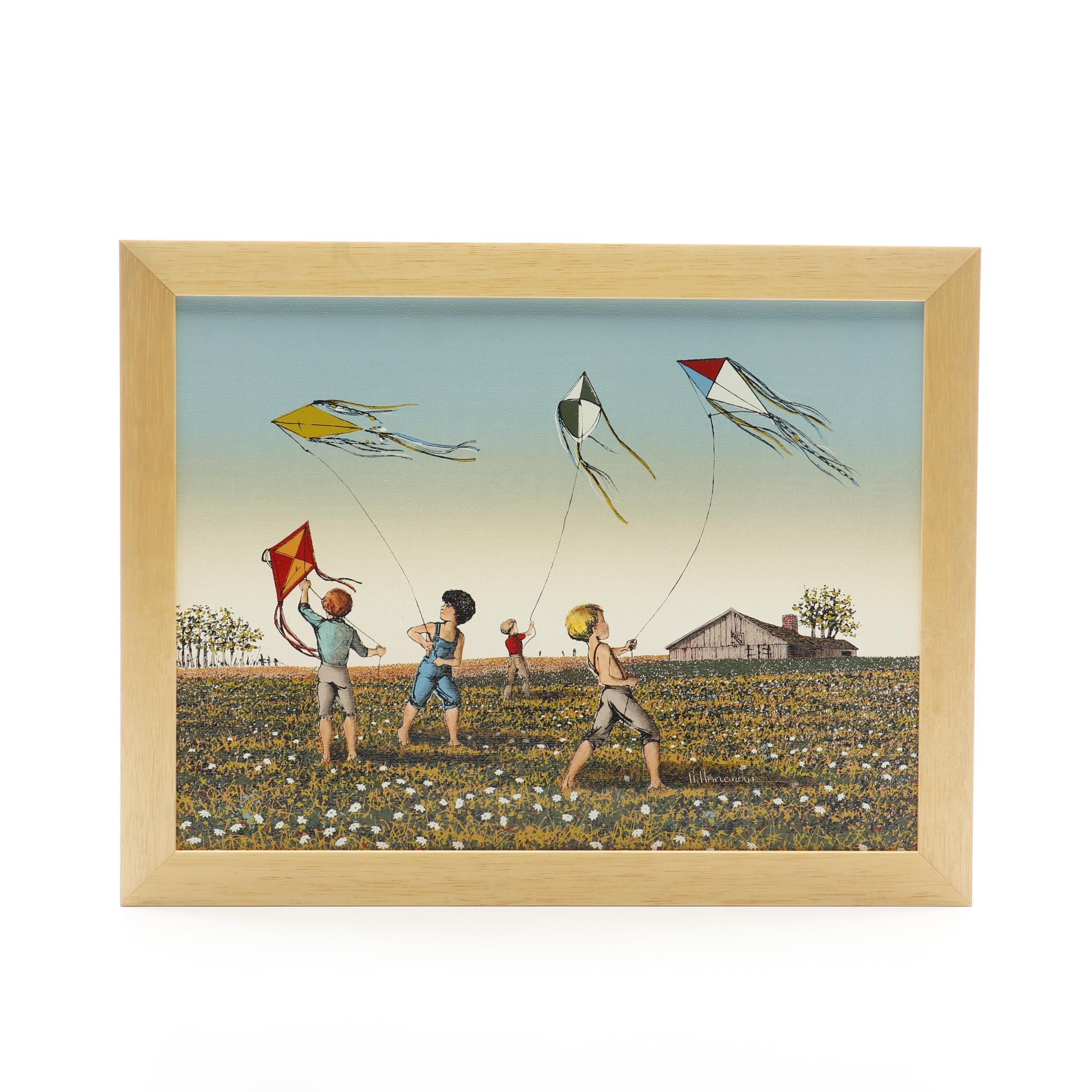 H. Hargrove Serigraph of Children with Kites