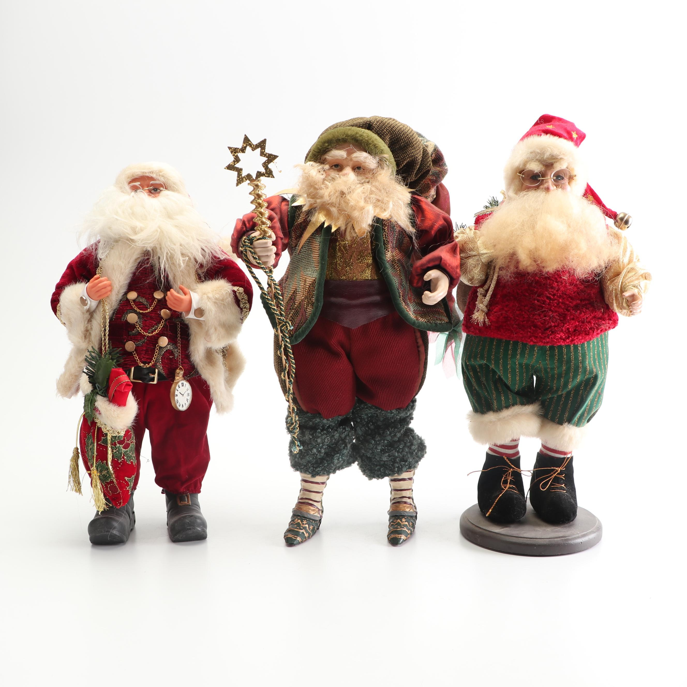 Plush Santa Claus Figurines with Faux Fur and Pine Accents