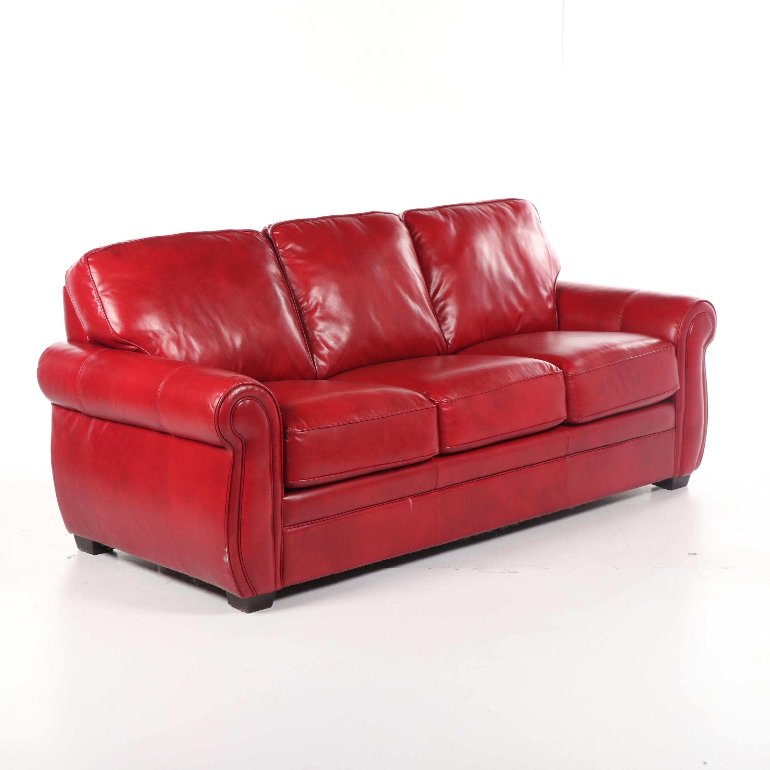 Contemporary Red Leather Sofa by Bachman