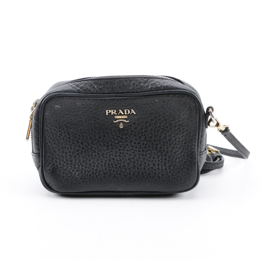950a67a68ce158 Prada Pebbled Black Leather Mini Crossbody Bag | EBTH