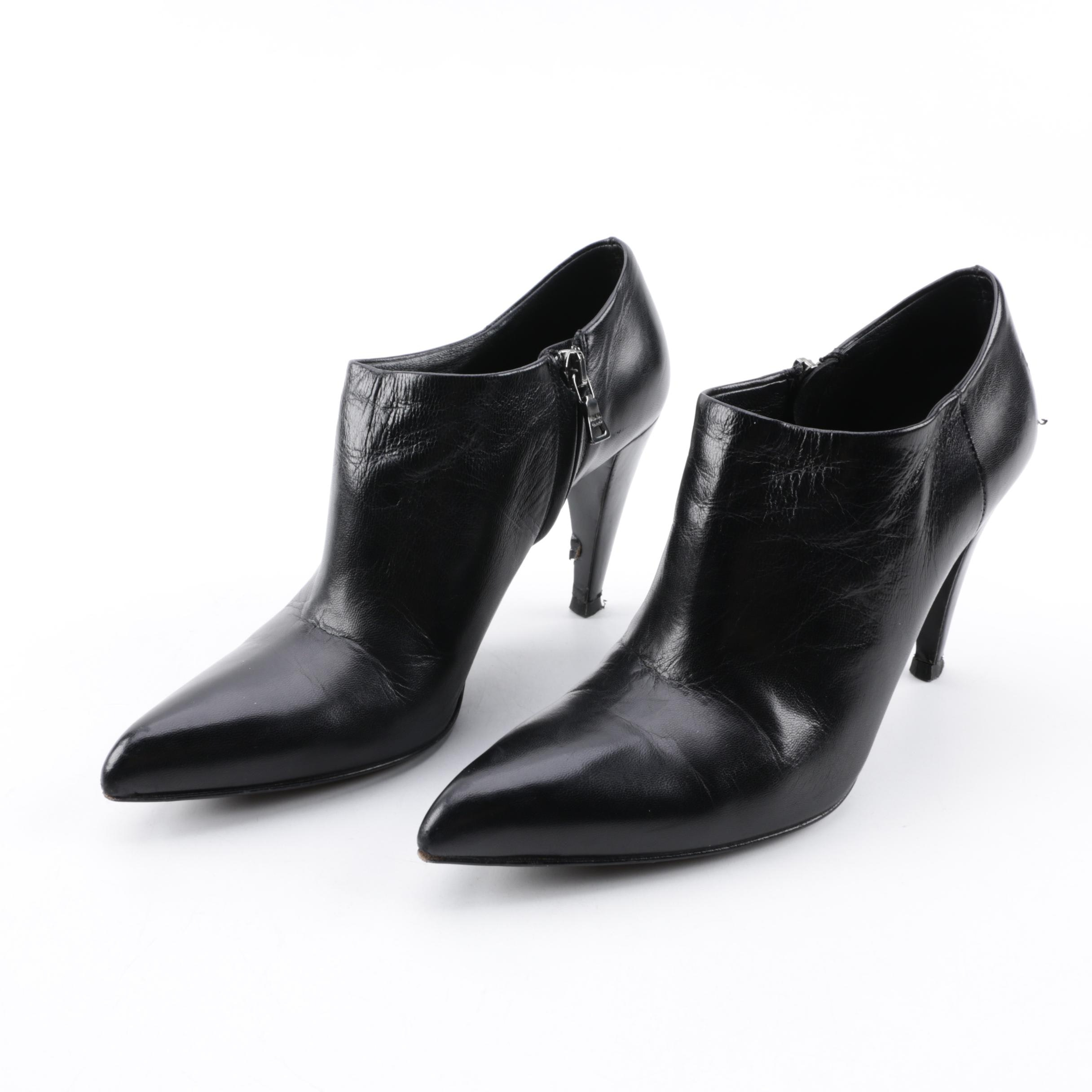 Women's Prada Calzature Donna Black Leather Pointed Toe Booties