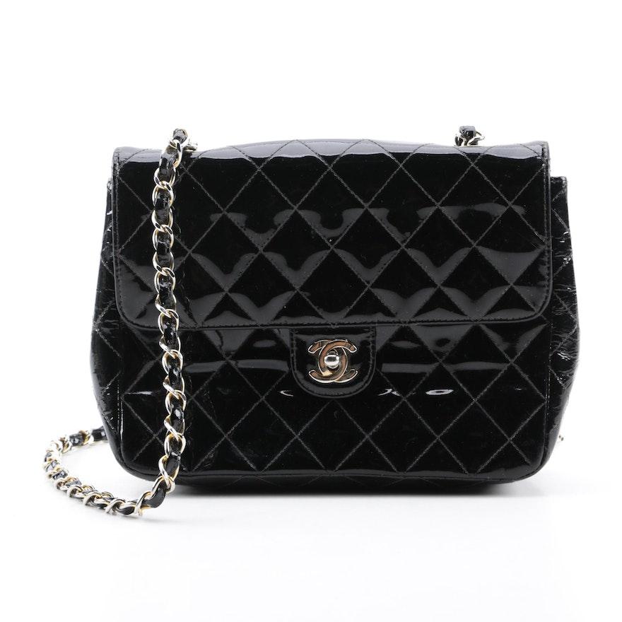 90782d3340b8 Chanel Quilted Black Patent Leather Shoulder Bag : EBTH