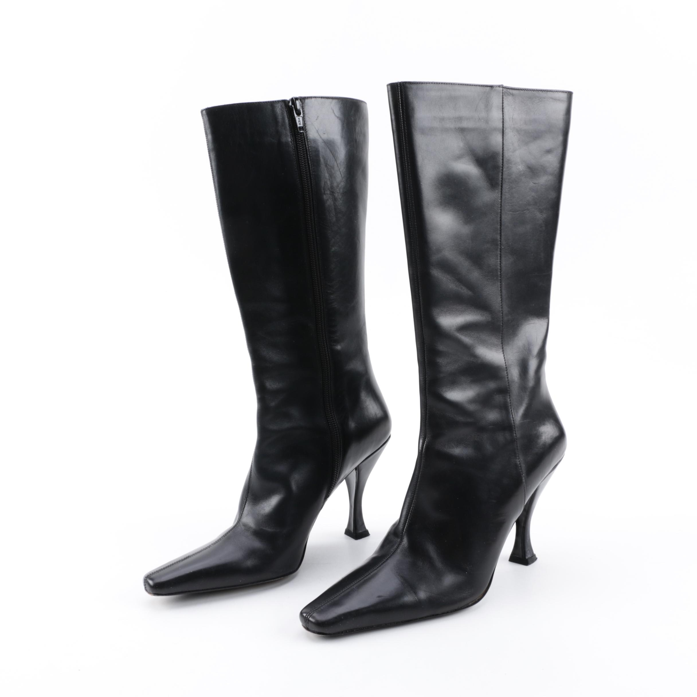 Women's Via Spiga Glame Black Leather Pointed Toe Heeled Tall Boots