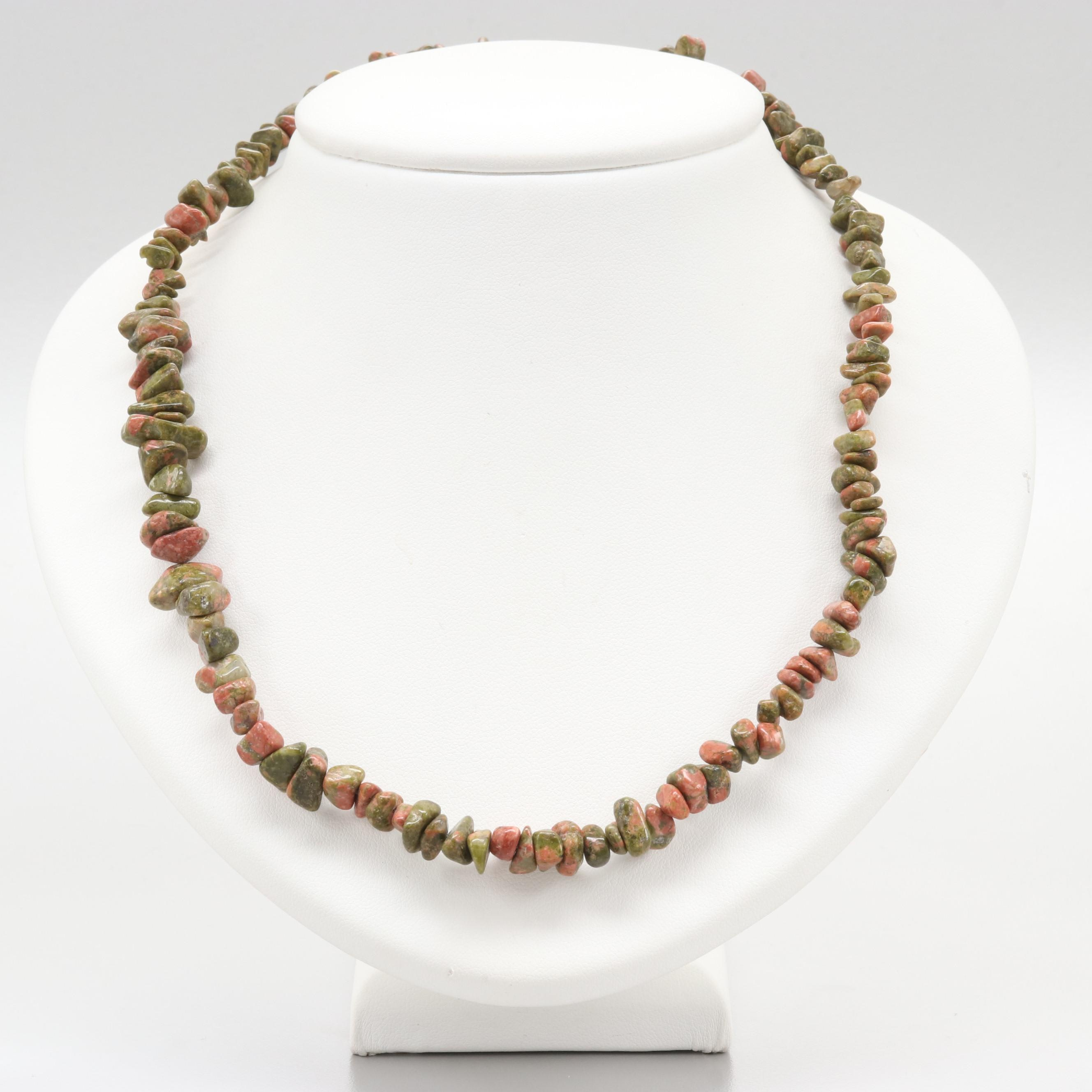 14K Yellow Gold Unakite Beaded Necklace