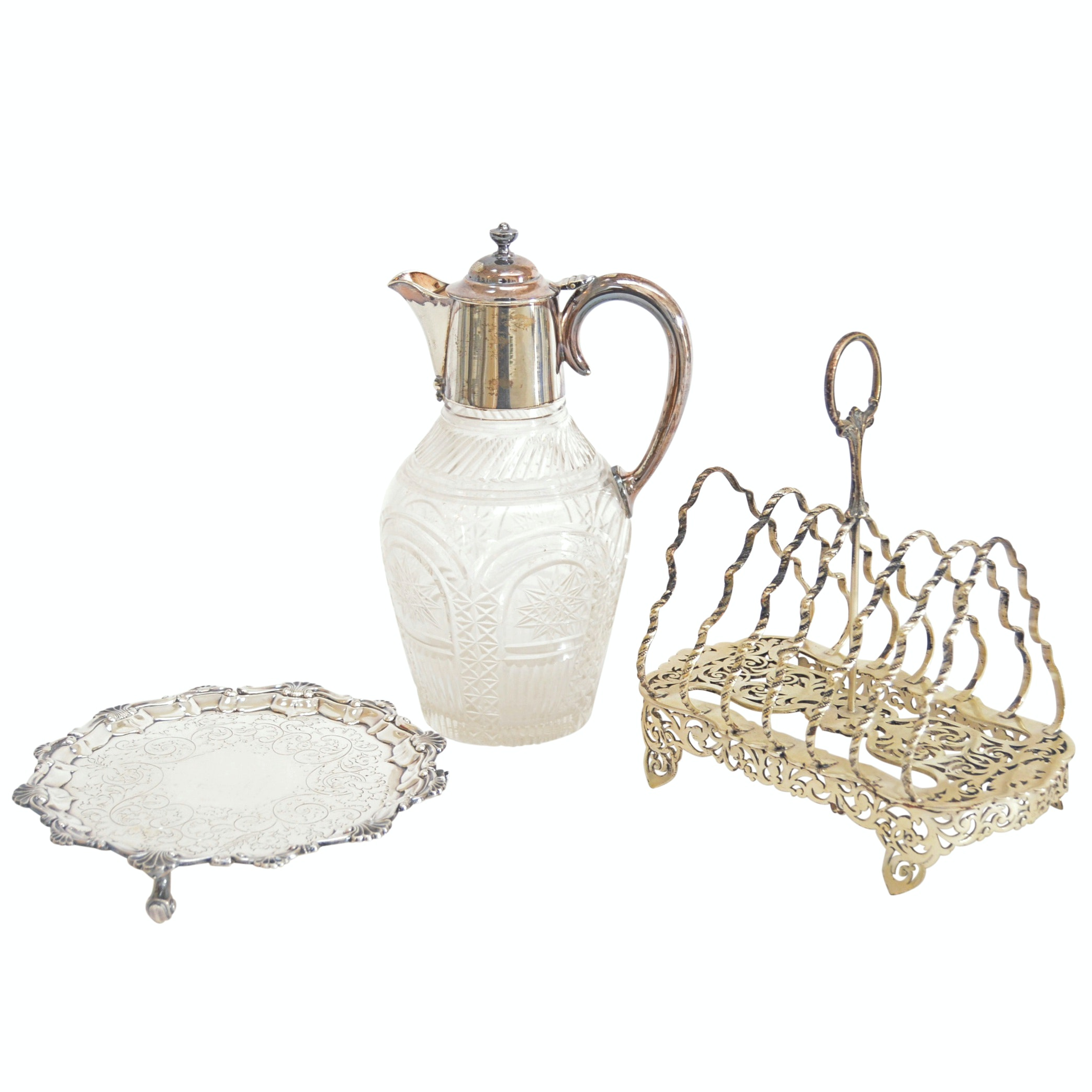 Silverplate Serveware with Barker Bros. Tray, Henry Wilkinson Pitcher