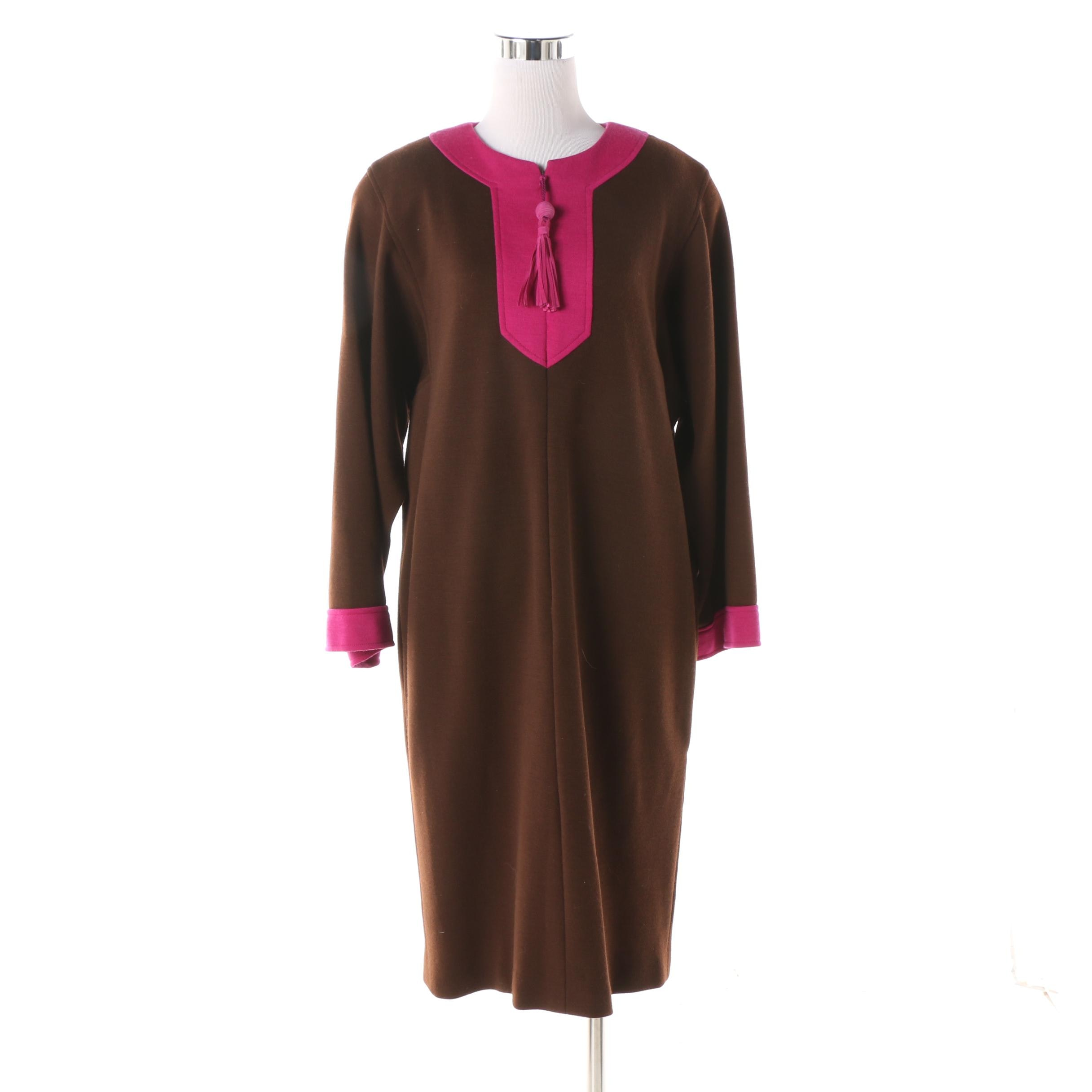 Women's 1980s Oscar de la Renta Brown and Fuchsia Tunic-Style Shift Dress
