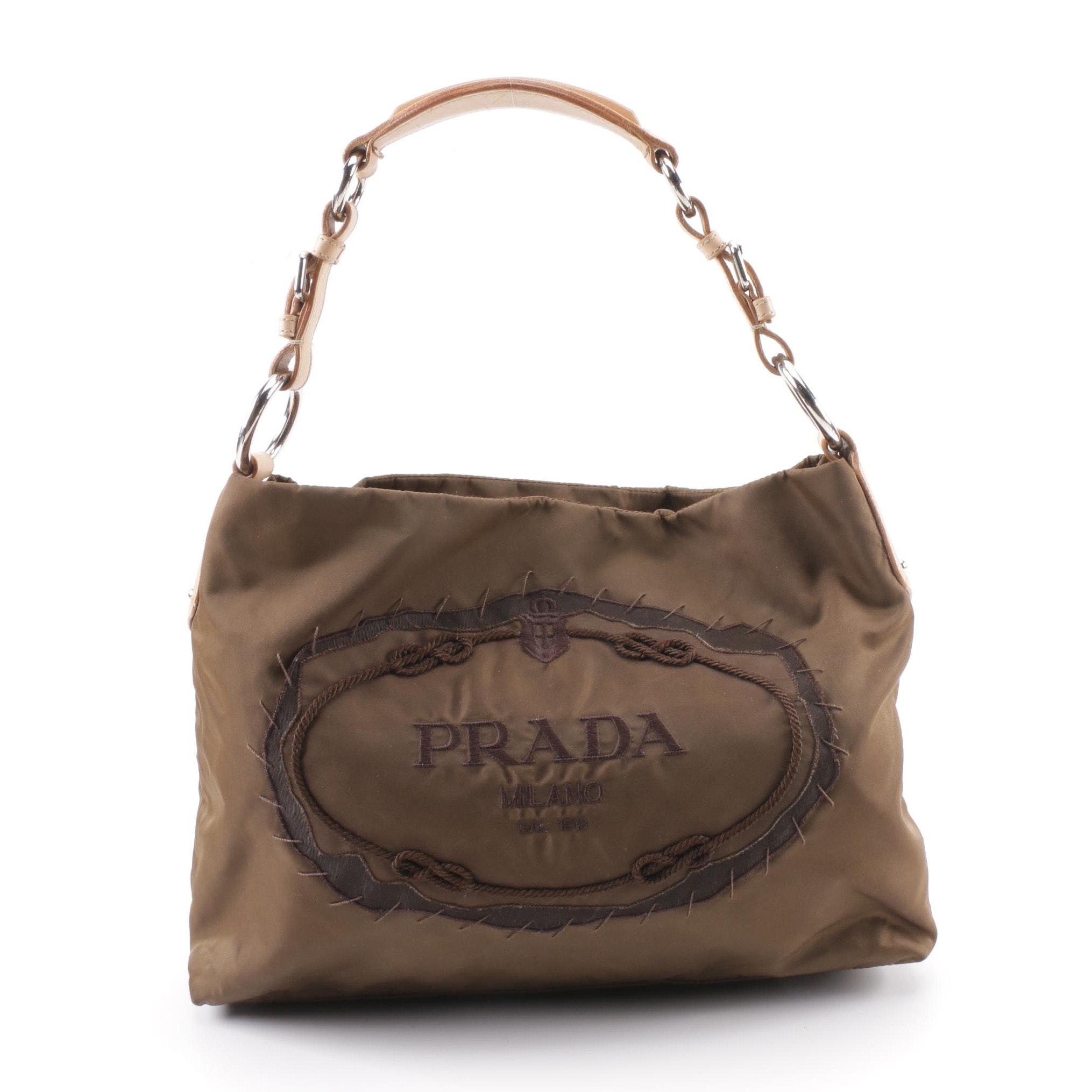 Prada Brown Nylon Logo Shoulder Bag