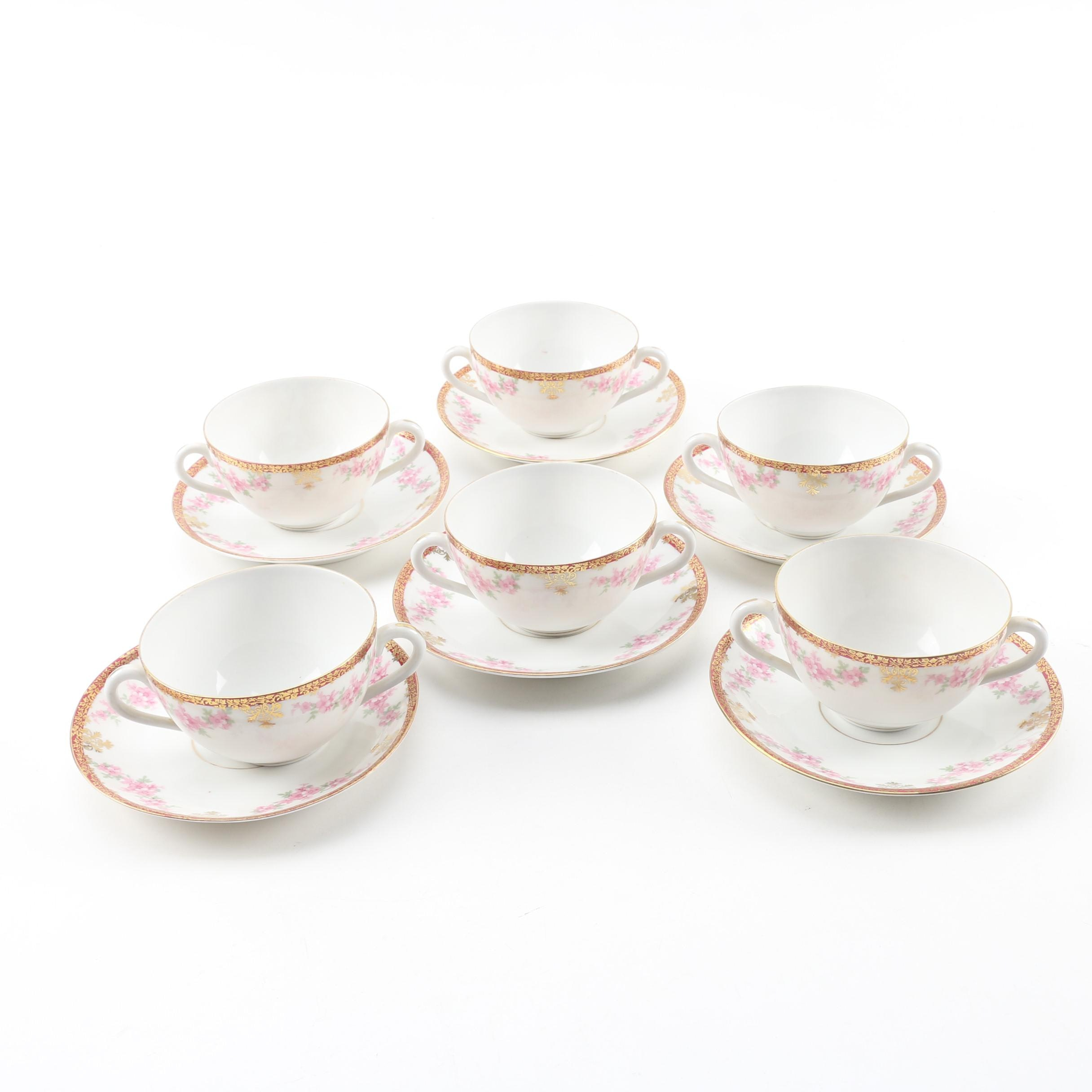 L. Straus & Sons Carlsbad Porcelain Bouillon Cups and Saucers, 20th Century
