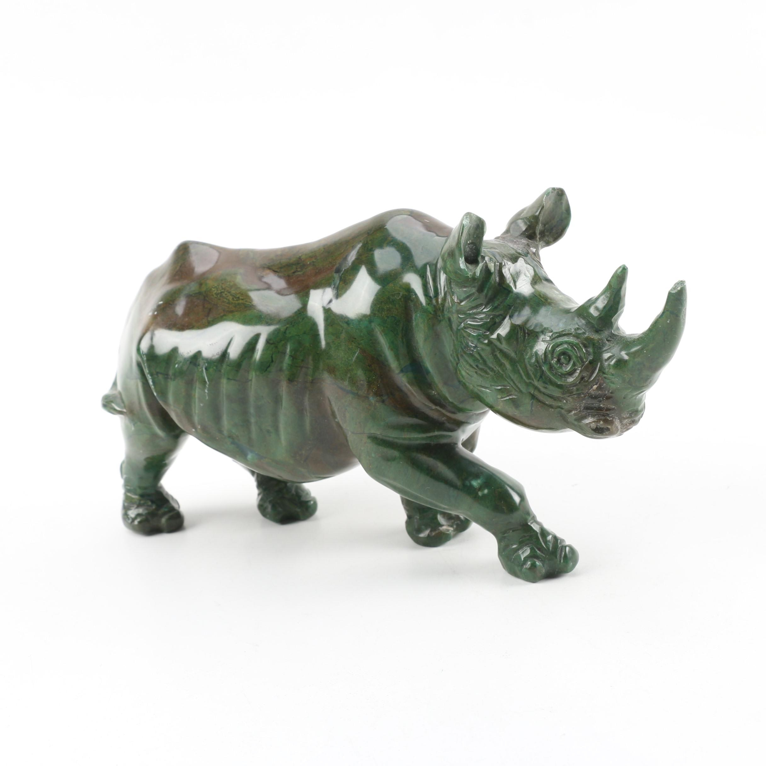 Carved Green Stone Rhinoceros Figurine