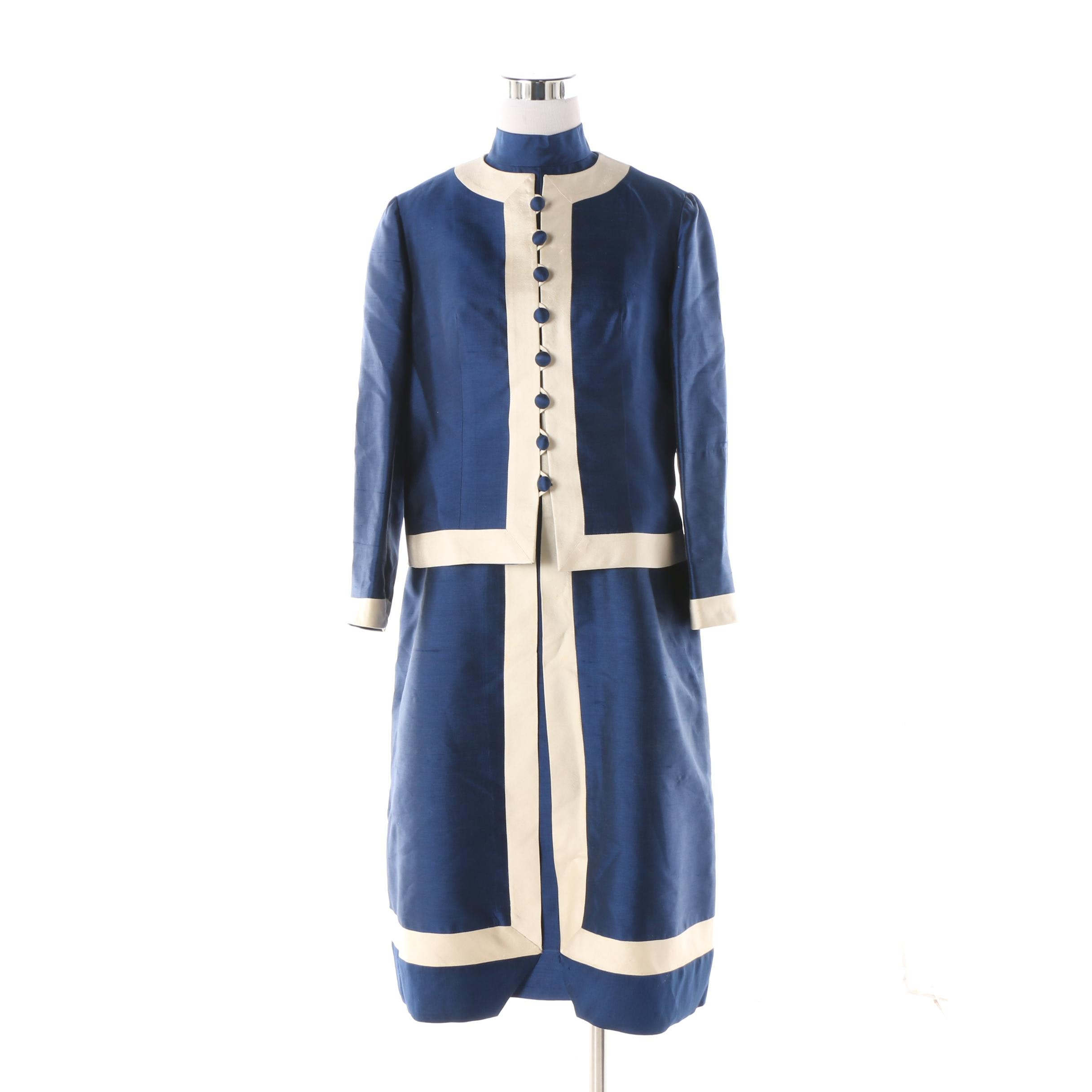 Vintage Mocambo, Inc. Blue and Off-White Silk Mod Dress Suit