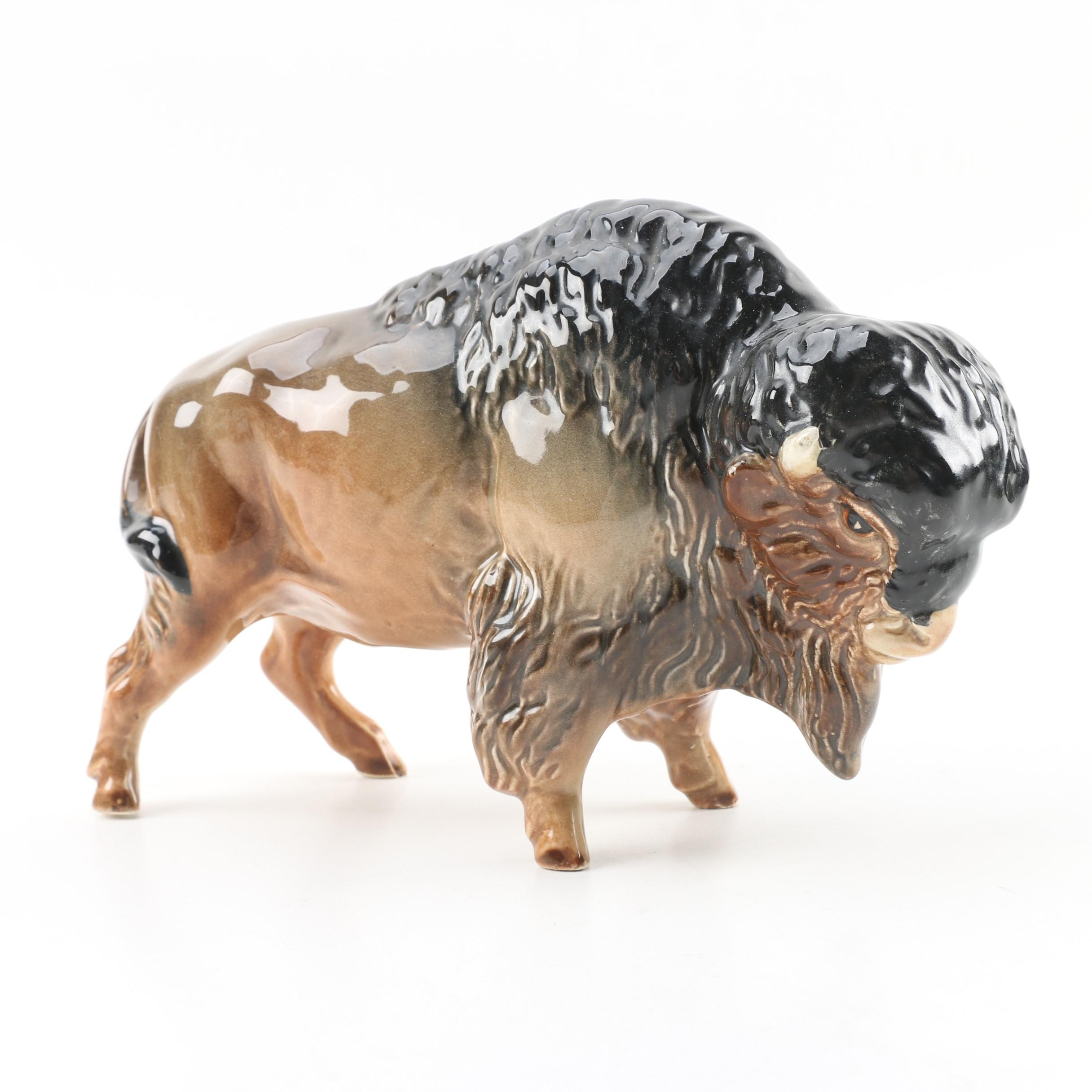 English Ceramic Bison Figurine
