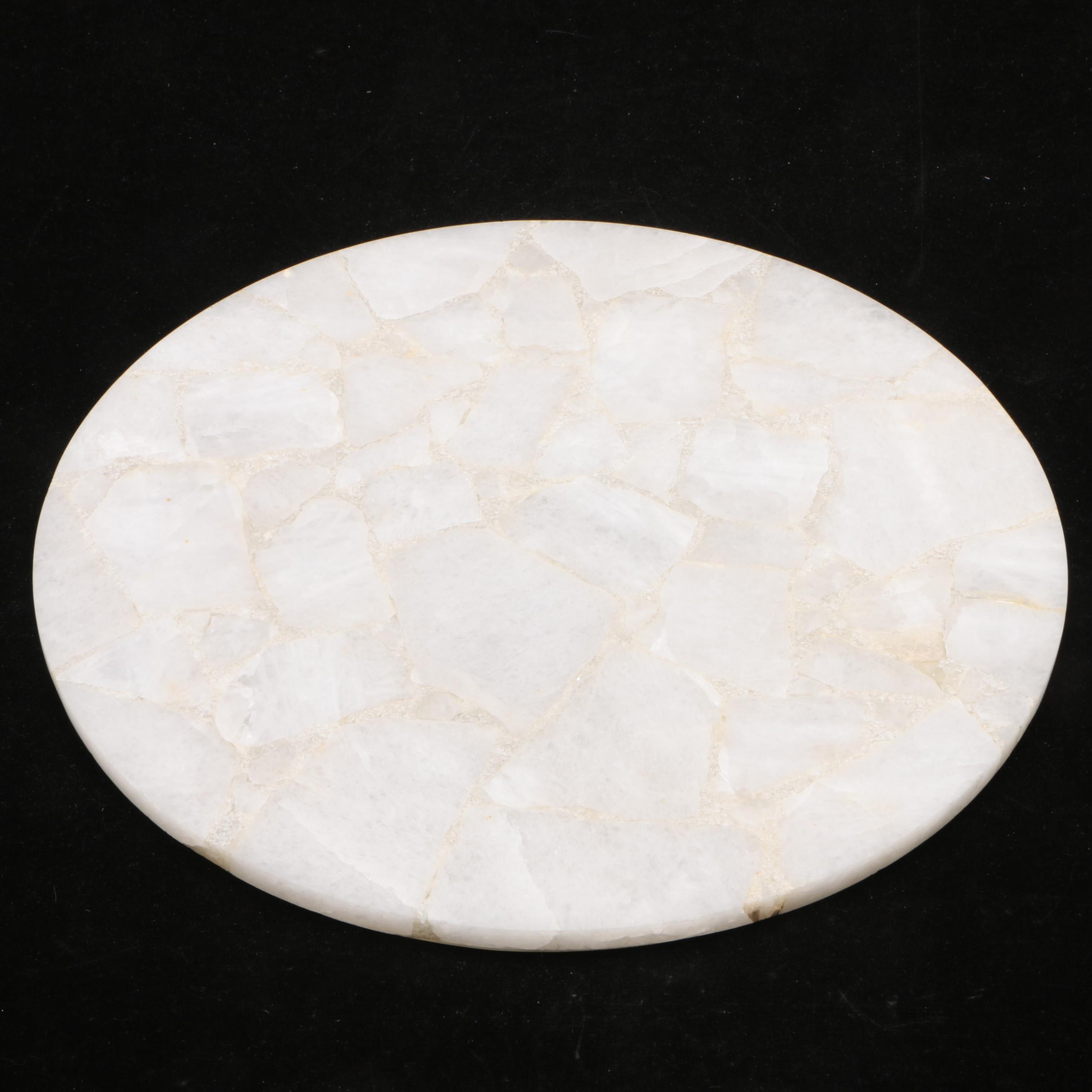 Polished White Quartz Table Top, 21st Century