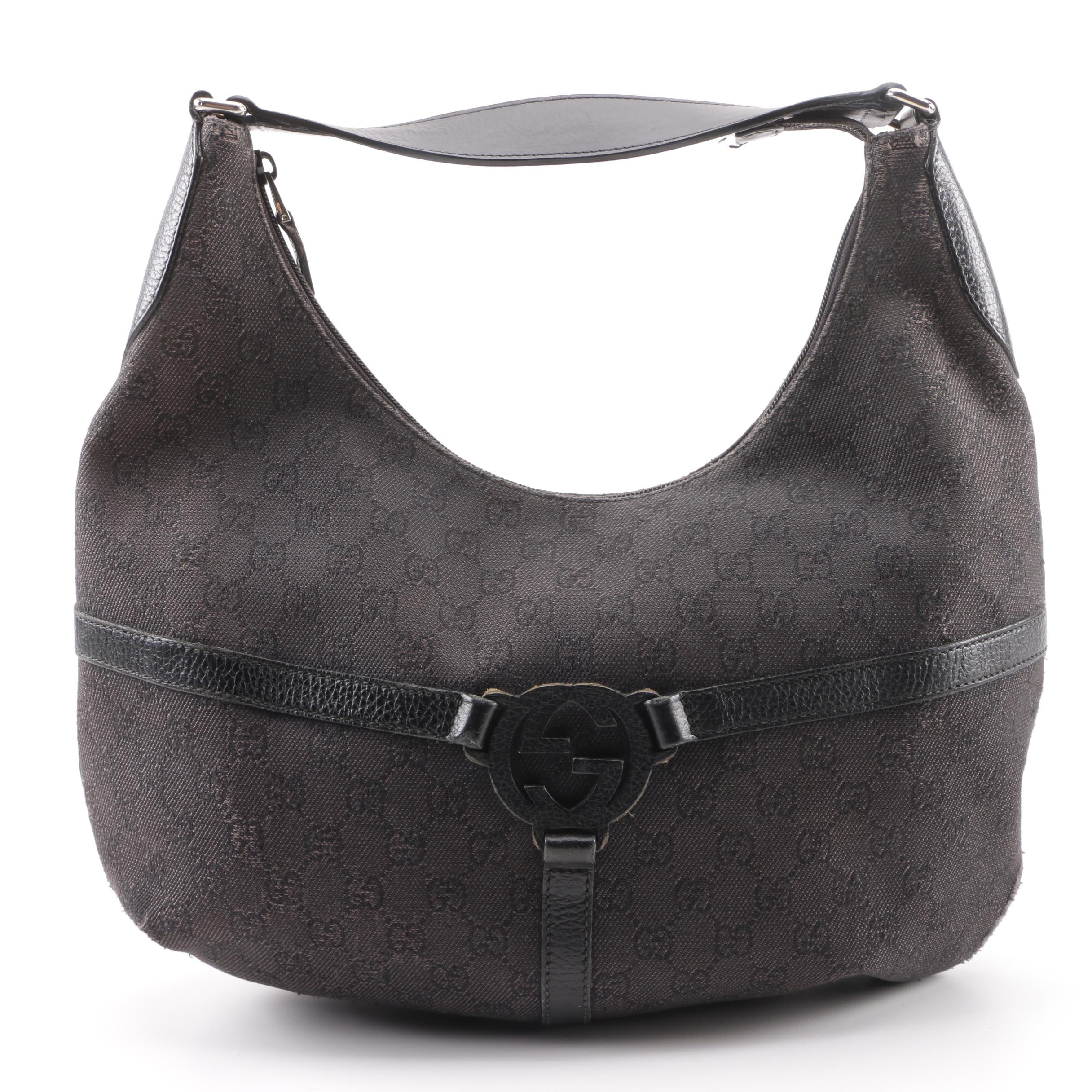 Gucci Dark Brown GG Canvas and Leather Reins Hobo Bag