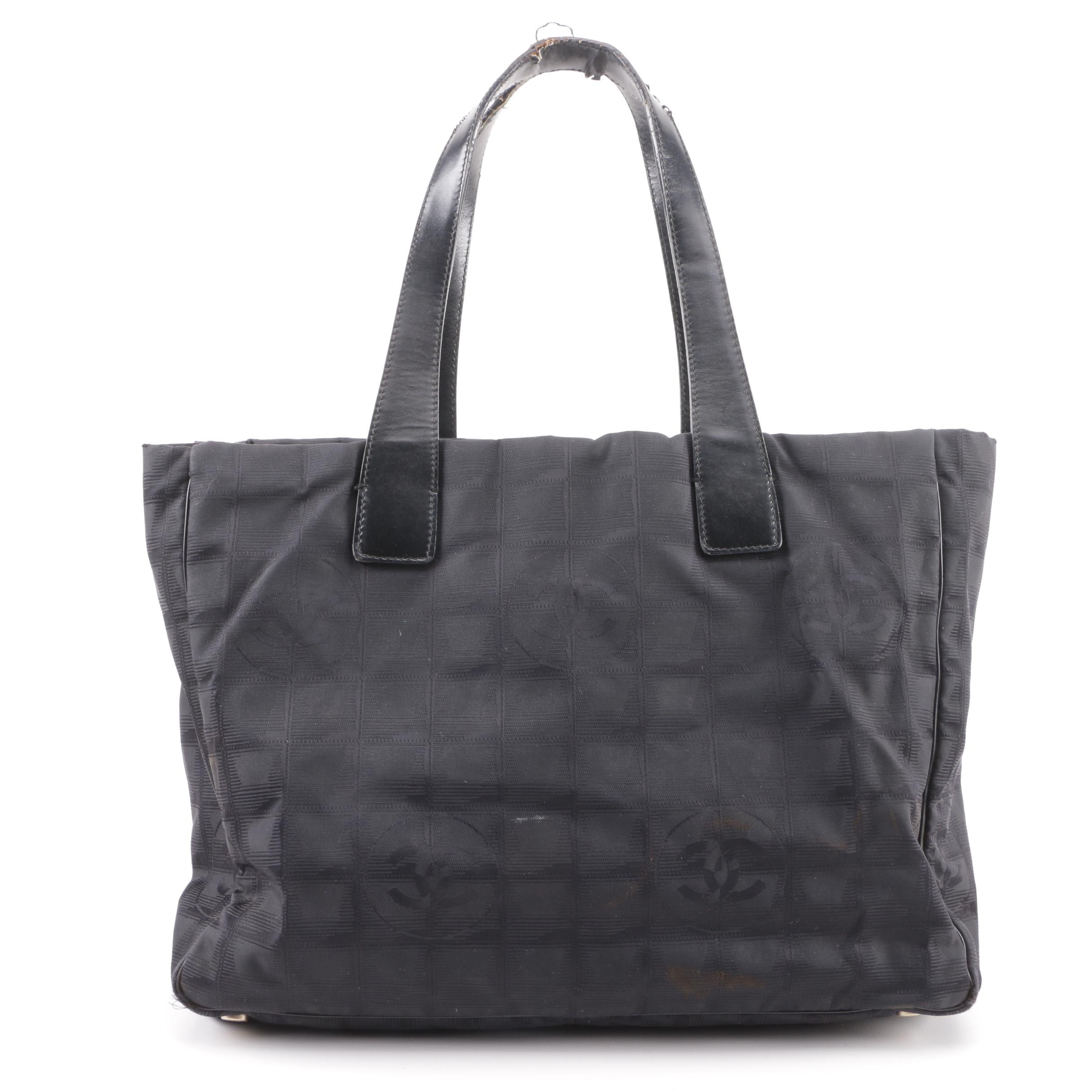 Chanel CC Logo Black Nylon Travel Line Tote