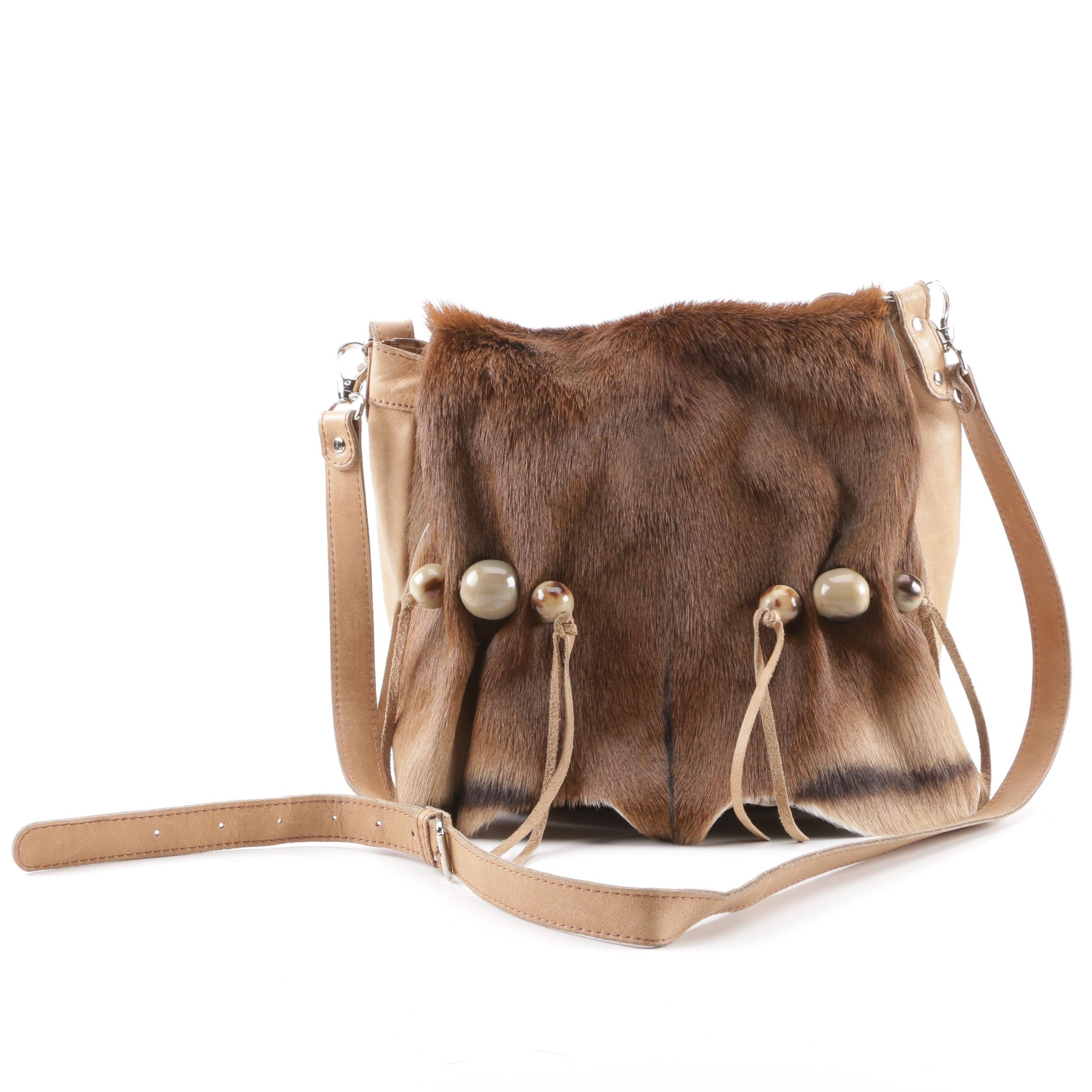 Kulu Leather and Pony Hair Front Flap Convertible Satchel