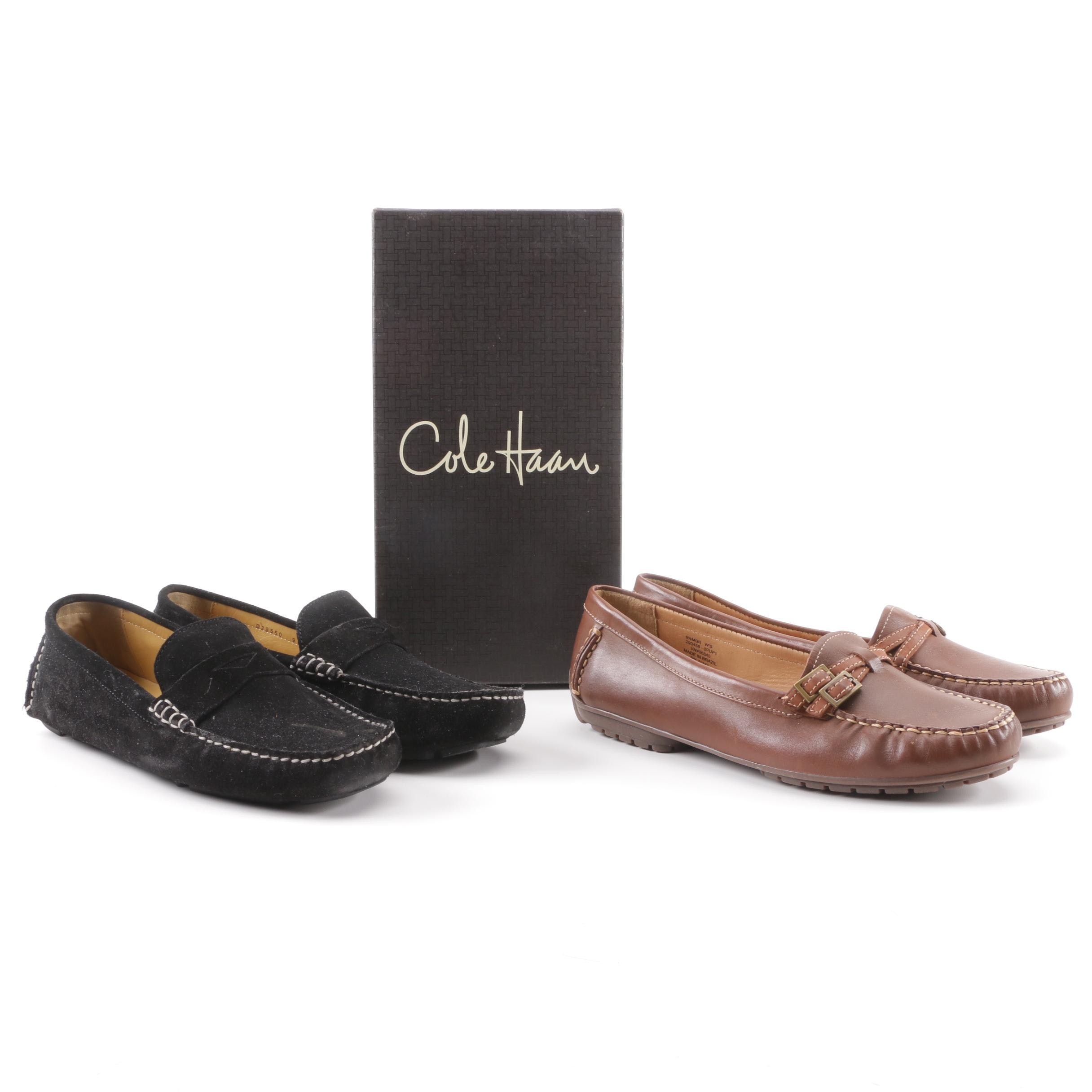 Cole Haan Black Suede Driver Mocs and L.L. Bean Brown Leather Loafers