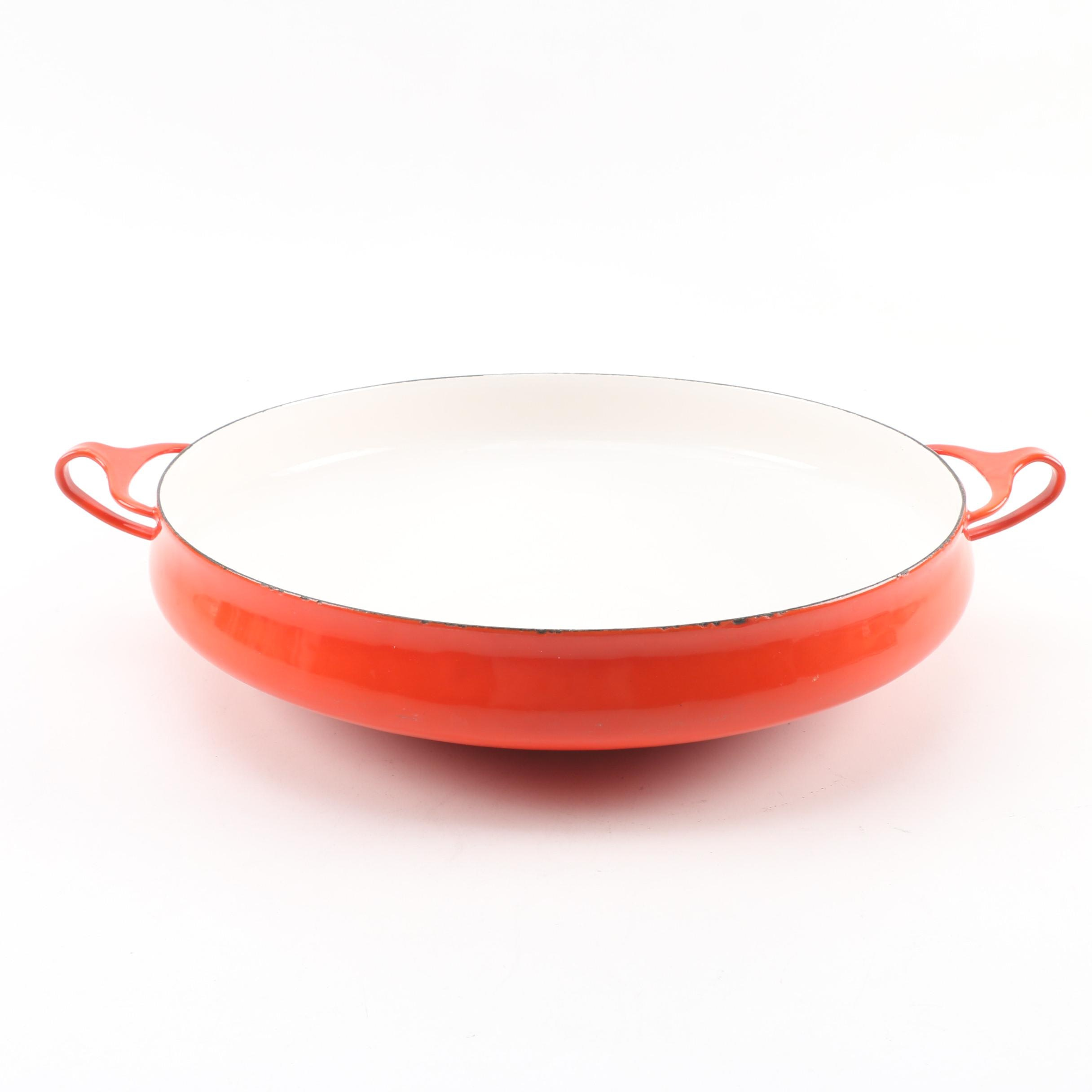 """Vintage Dansk """"Kobenstyle"""" Red Enameled Paella Pan"""