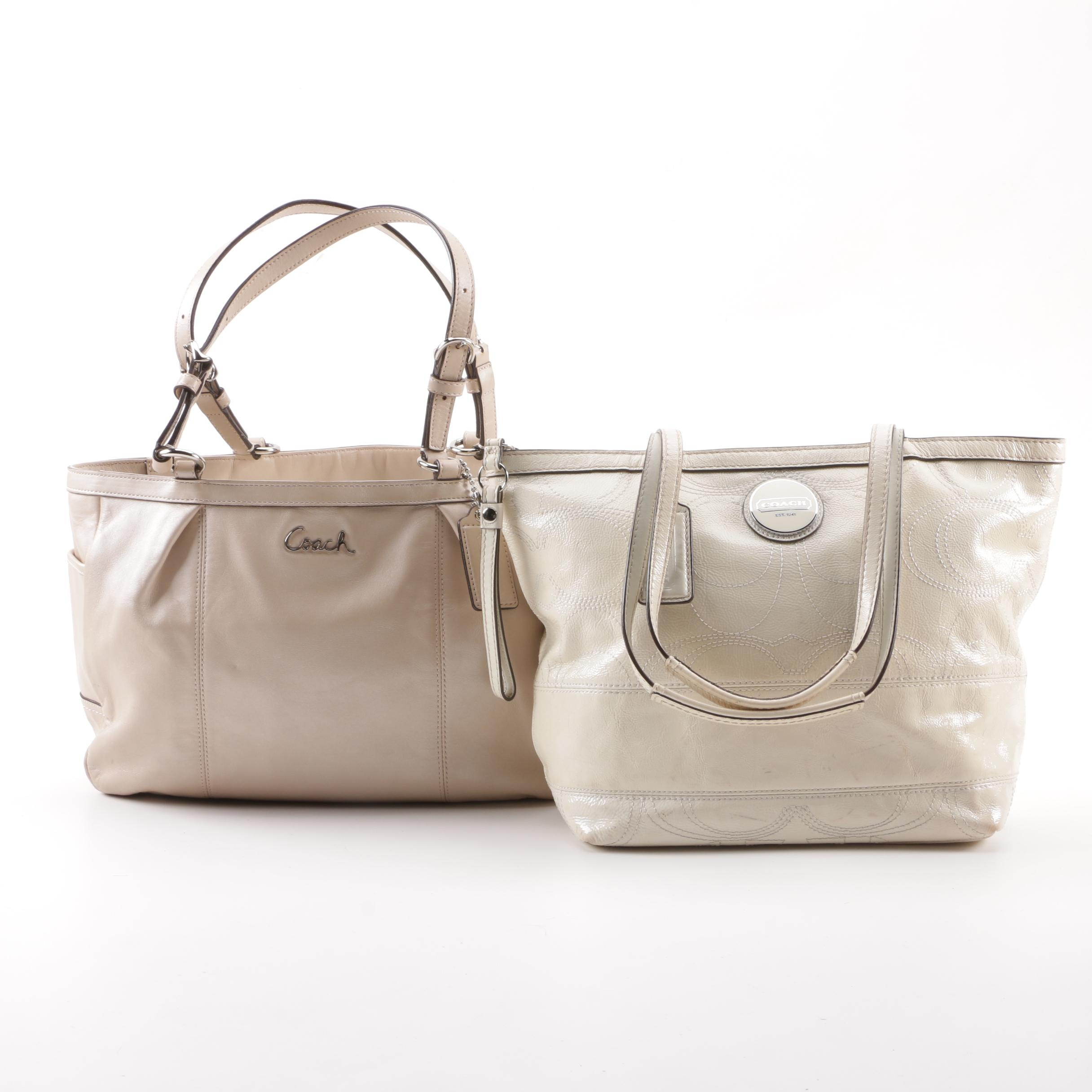 Coach Gallery Leather Tote and Signature Stripe Patent Leather Tote
