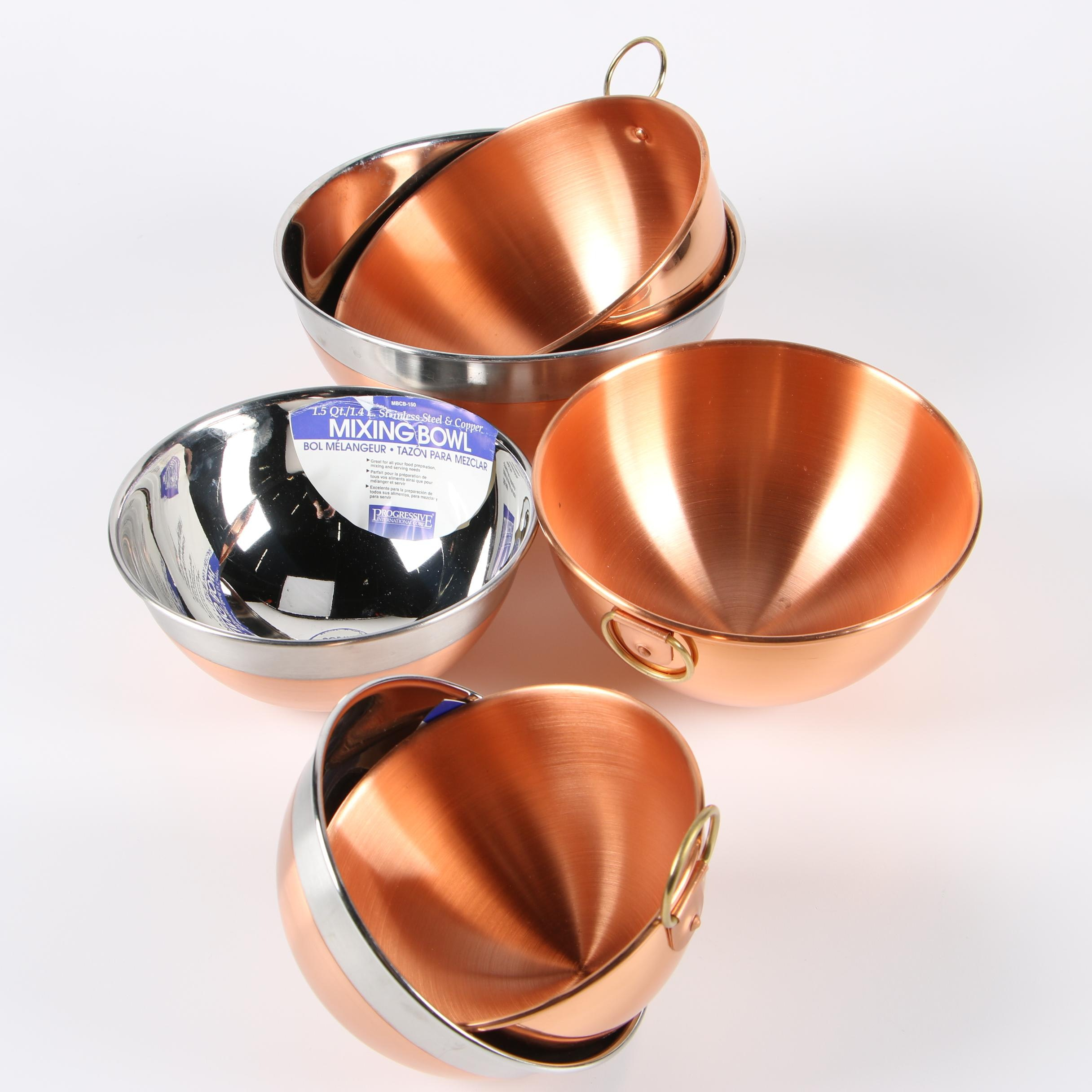 Stainless Steel and Portuguese Copper Mixing Bowls