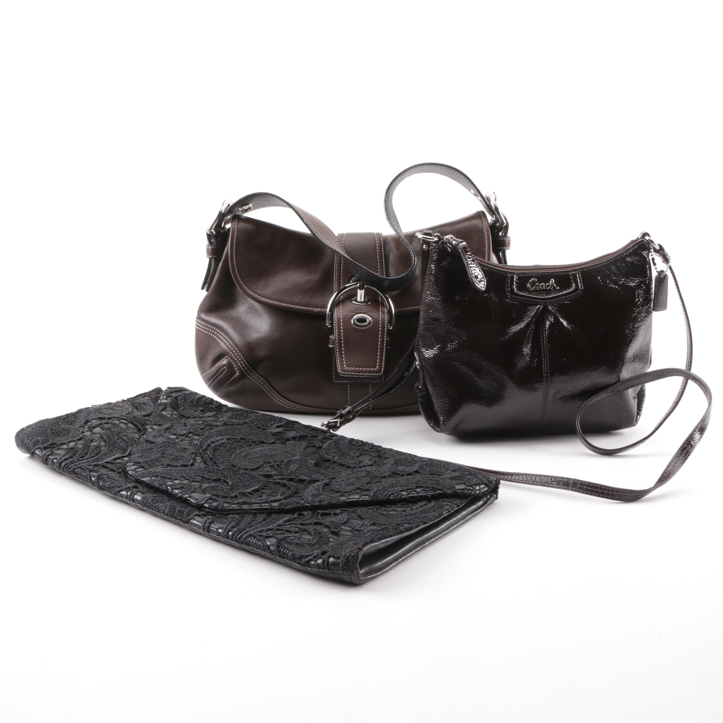 Coach Leather and Patent Leather Shoulder Bags and Jessica Simpson Lace Clutch