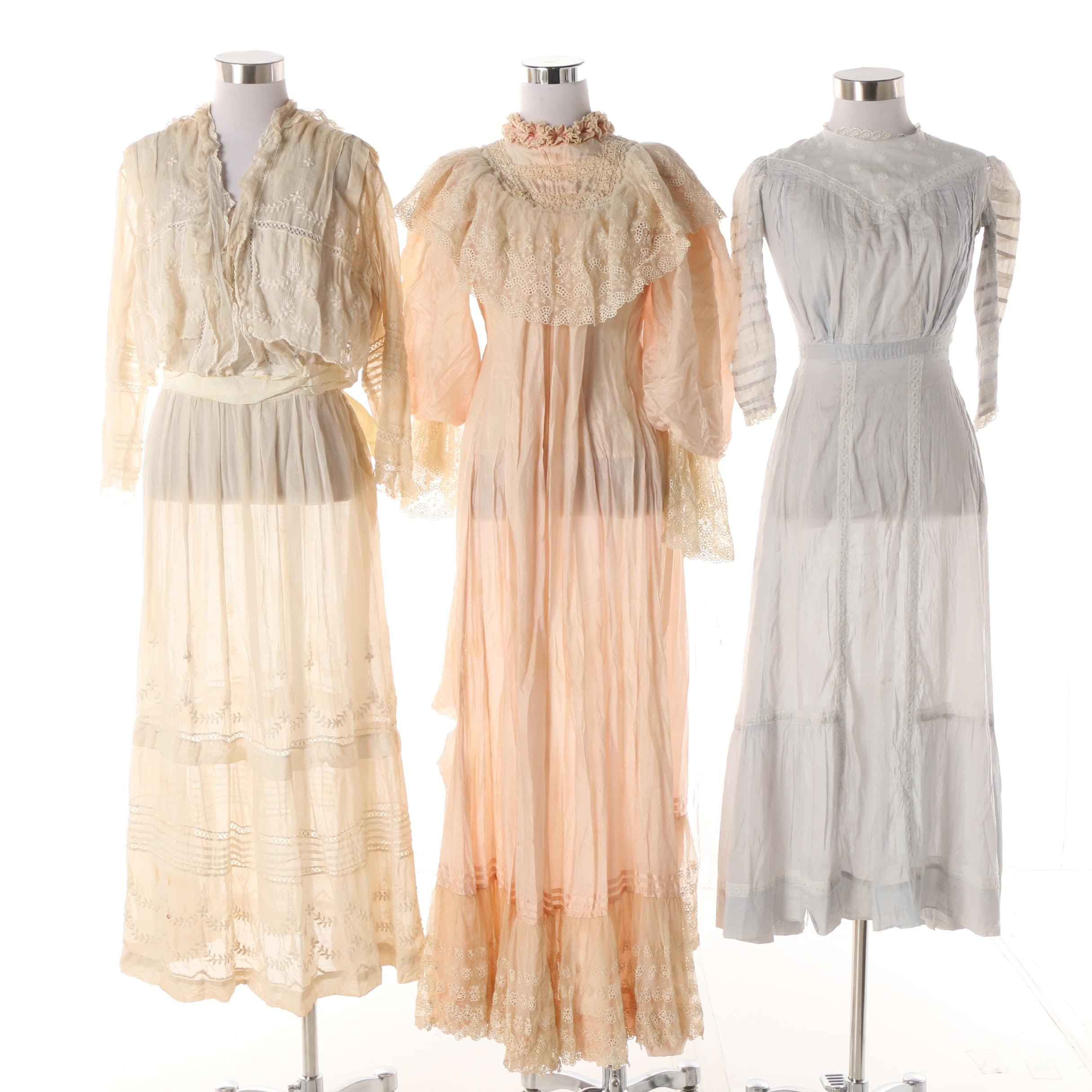 1900s Antique Tea and Day Dresses with Embroidered, Lace and Crochet Accents