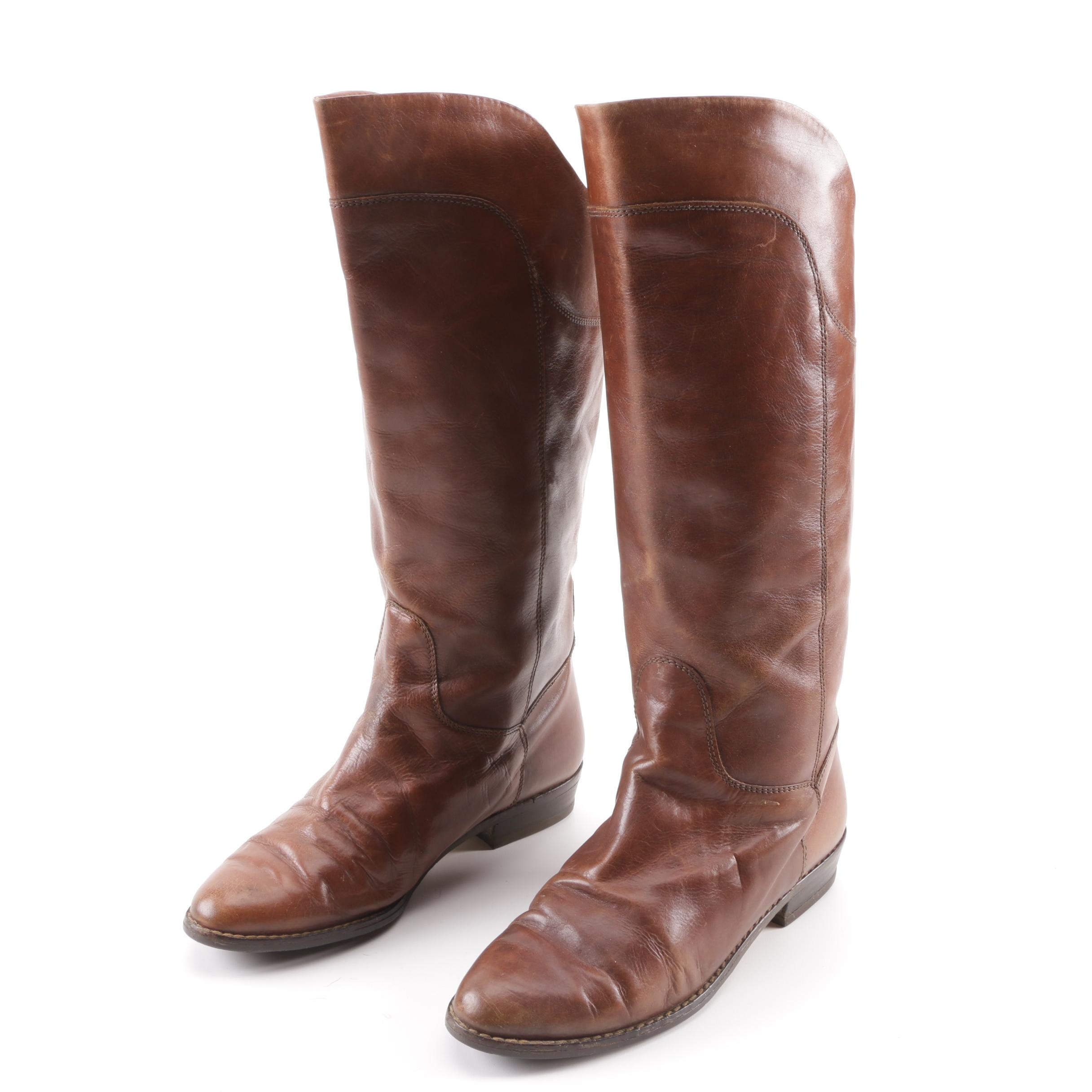 Women's Brown Leather Knee-High Riding Boots