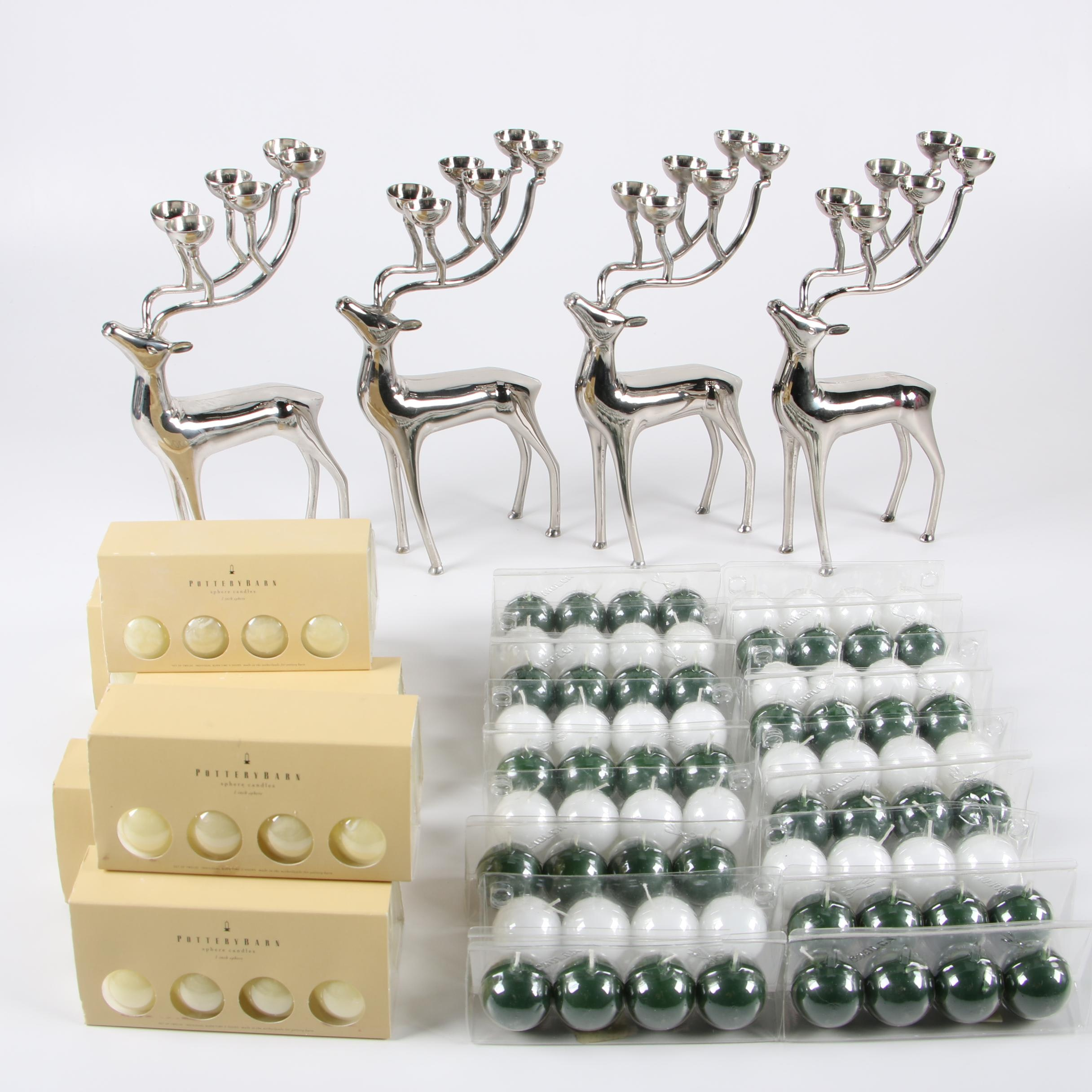 Godinger Reindeer Candle Holders with Candles