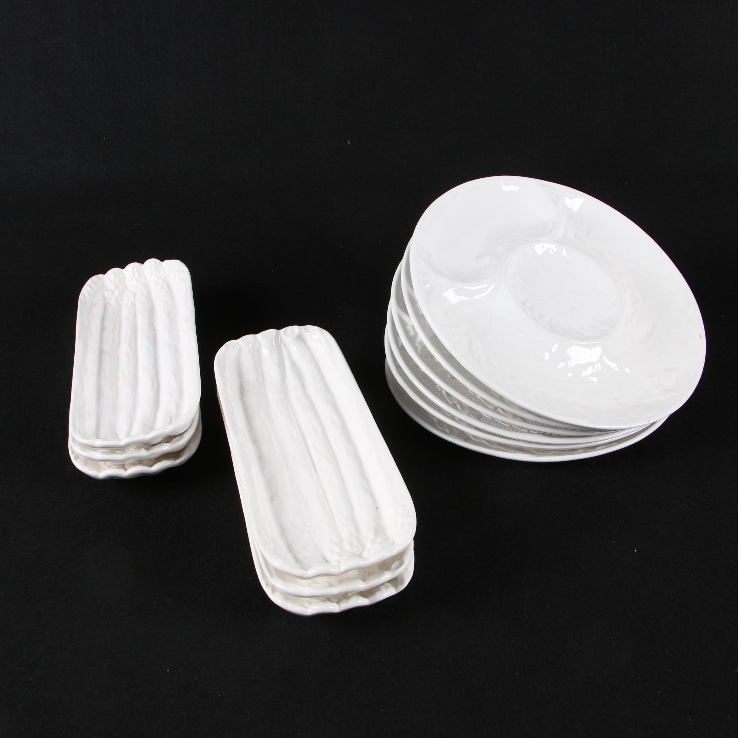 Ceramic Crudités Plates with Asparagus Trays