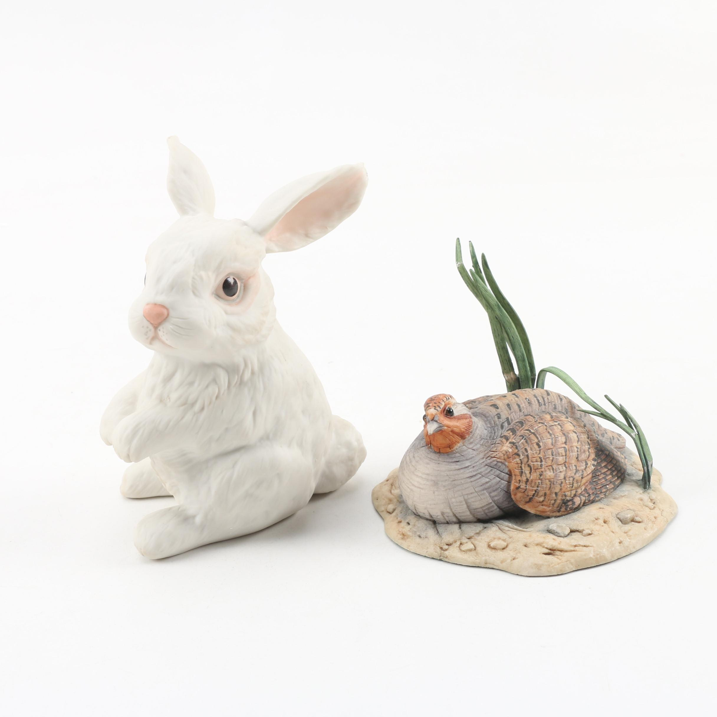 "Boehm ""Sitting Rabbit"" and Border Fine Arts ""Quail"" Porcelain Figurines"