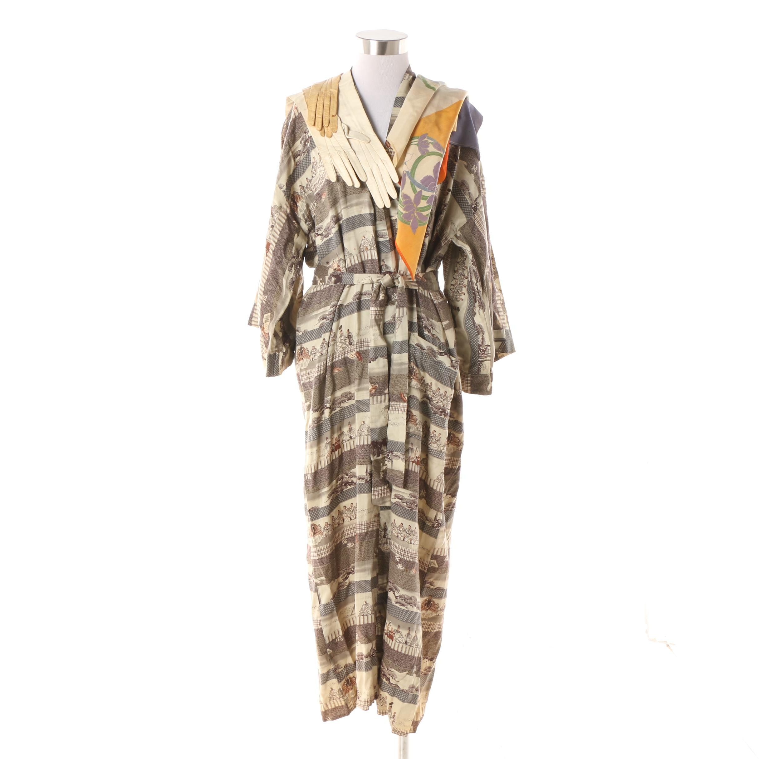 Vintage Japanese Silk and Cotton Blend Robe with Silk Scarf and Leather Gloves