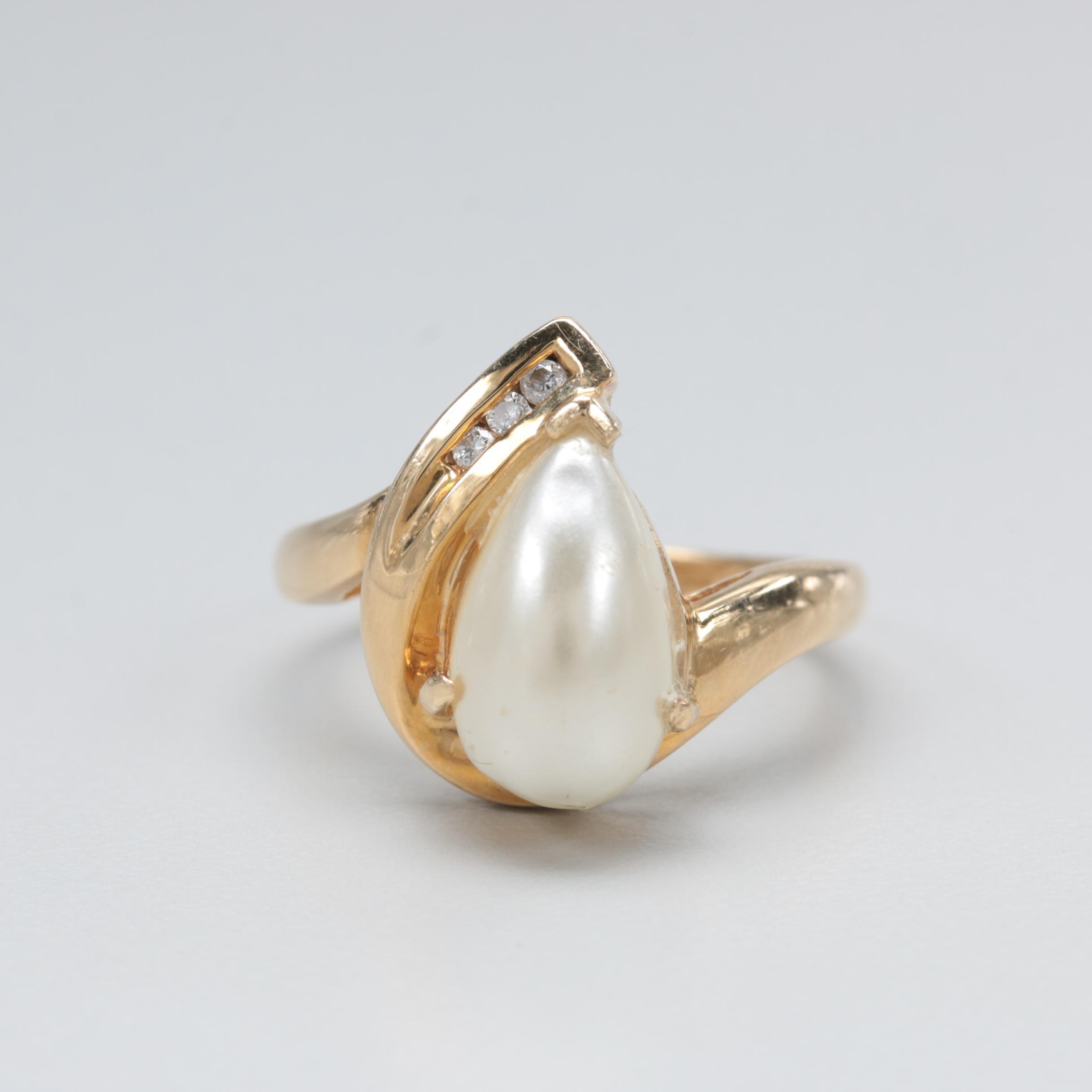 14K Yellow Gold Diamond and Imitation Pearl Ring
