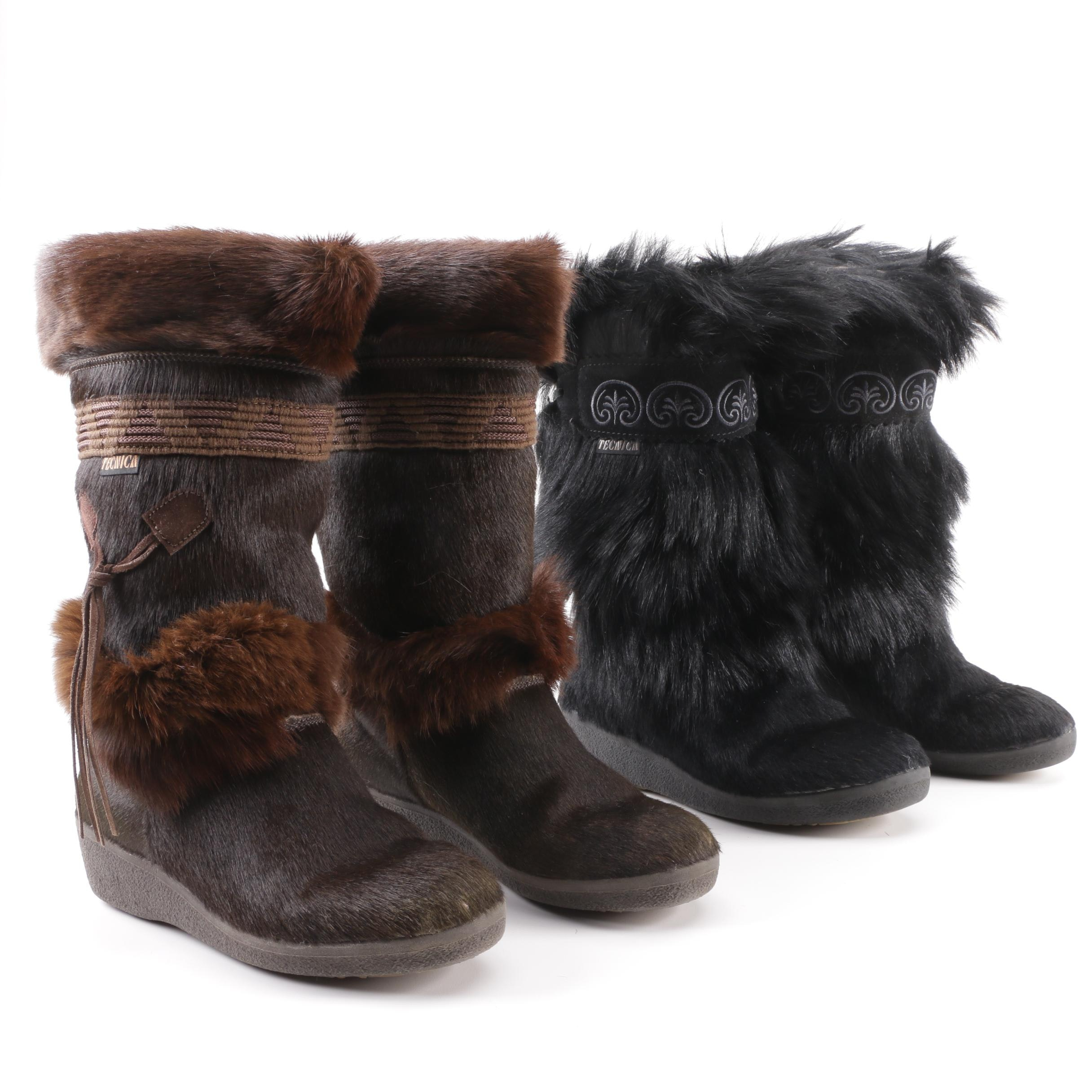 Women's Tecnica Black and Brown Goat Fur Winter Boots