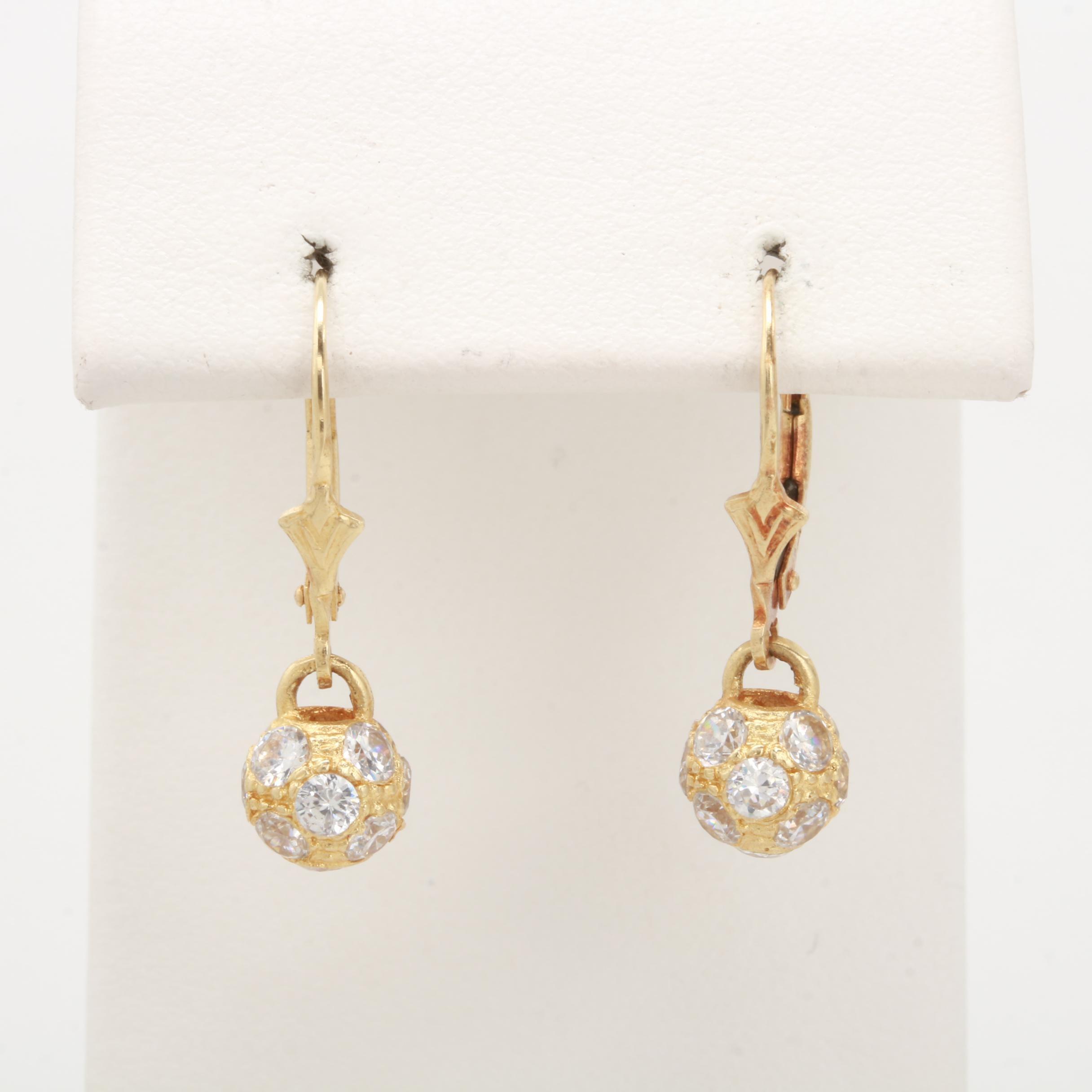 14K Yellow Gold Cubic Zirconia Dangle Earrings