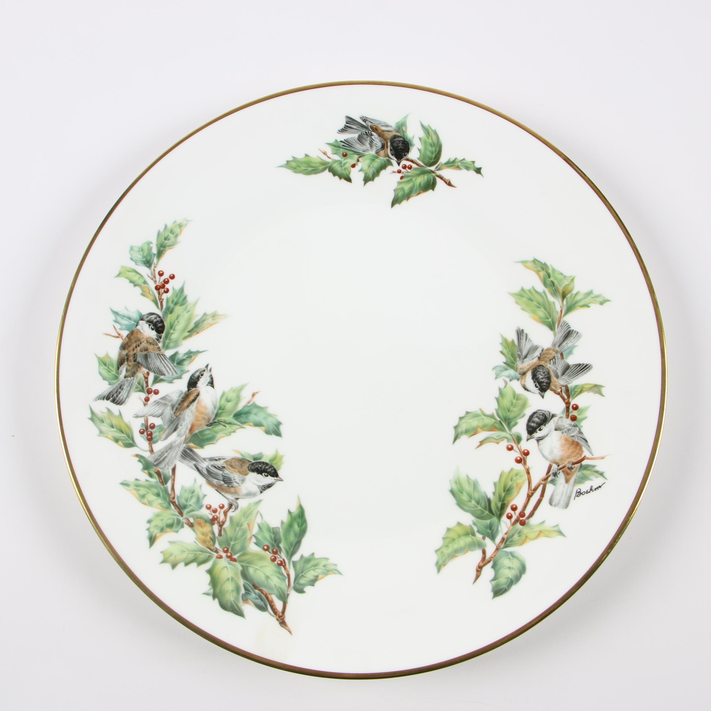 "Boehm ""Chickadees and Holly"" Bone Porcelain Dinner Plate"