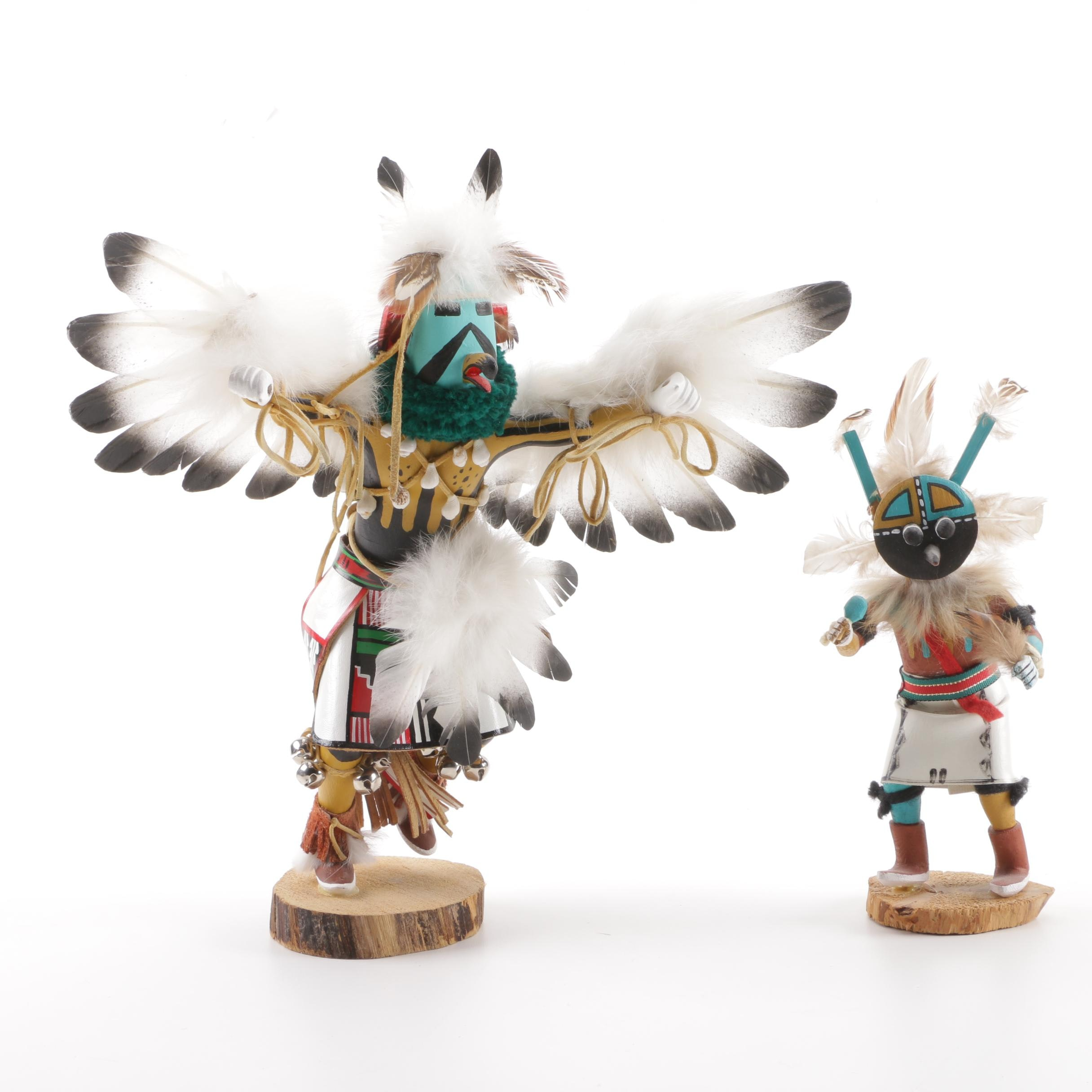"Navajo ""Kwahu"" and Hopi ""Wupamo"" Kachina Dolls"