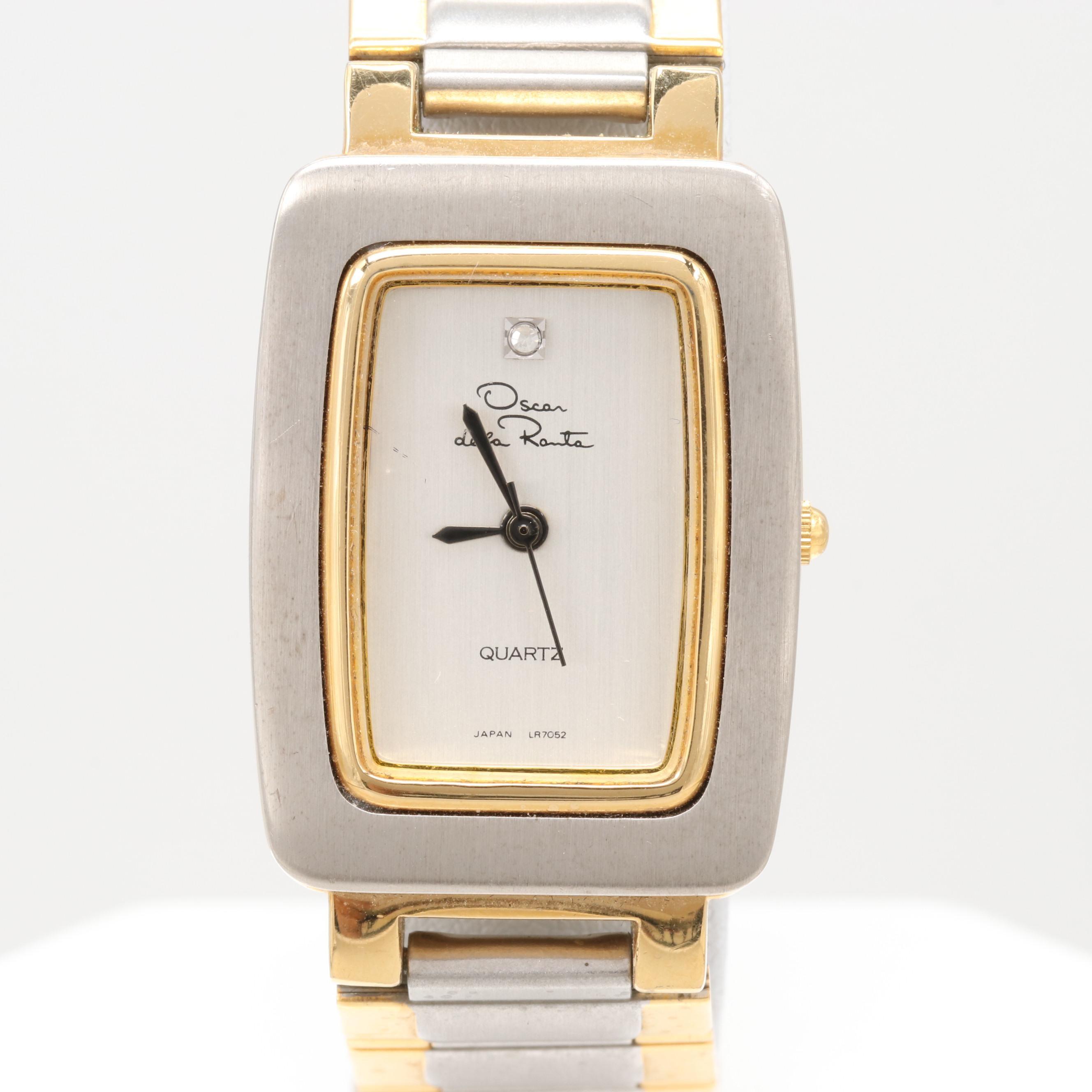 Oscar de la Renta Two-Tone Diamond Quartz Wristwatch