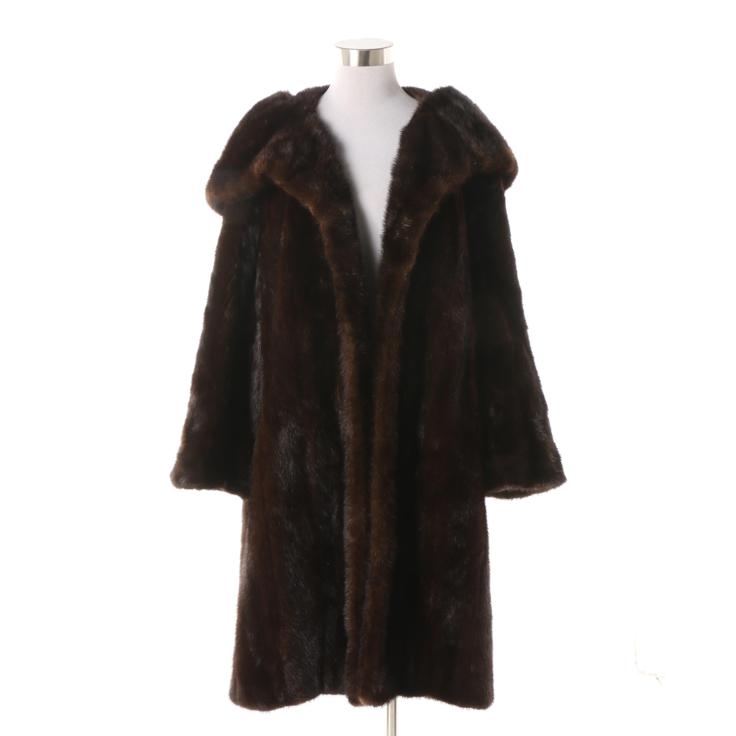 Women's Vintage Dark Mahogany Brown Mink Fur Open Front Coat
