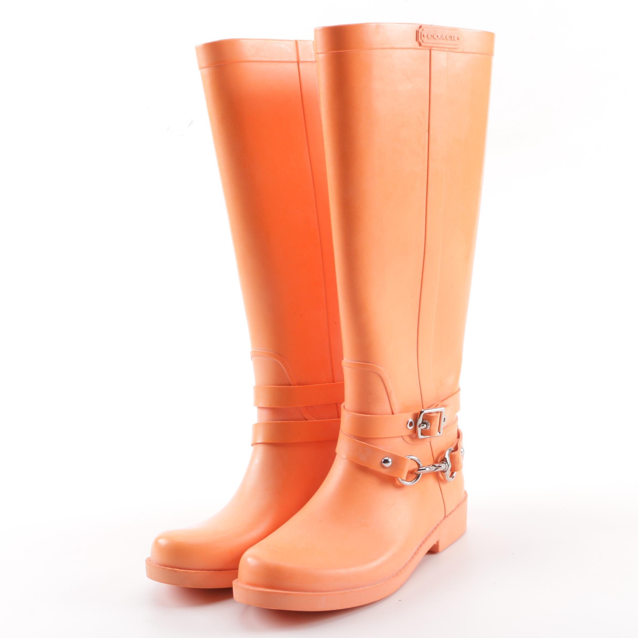 Women's Coach Lori Orange Rubber Rain Boots