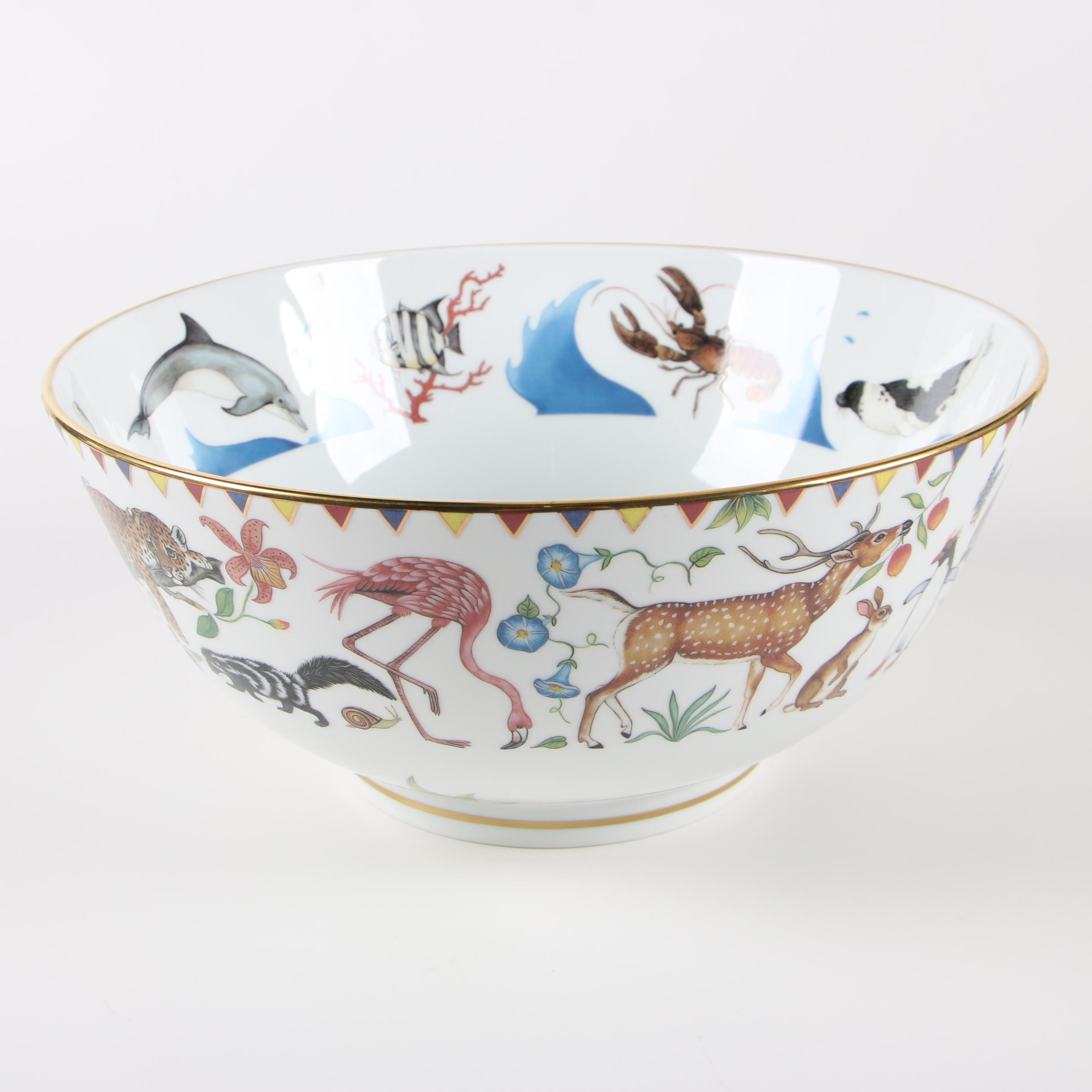"Lynn Chase Designs ""Harmony"" Porcelain Centerpiece Bowl with 24K Gold Details"