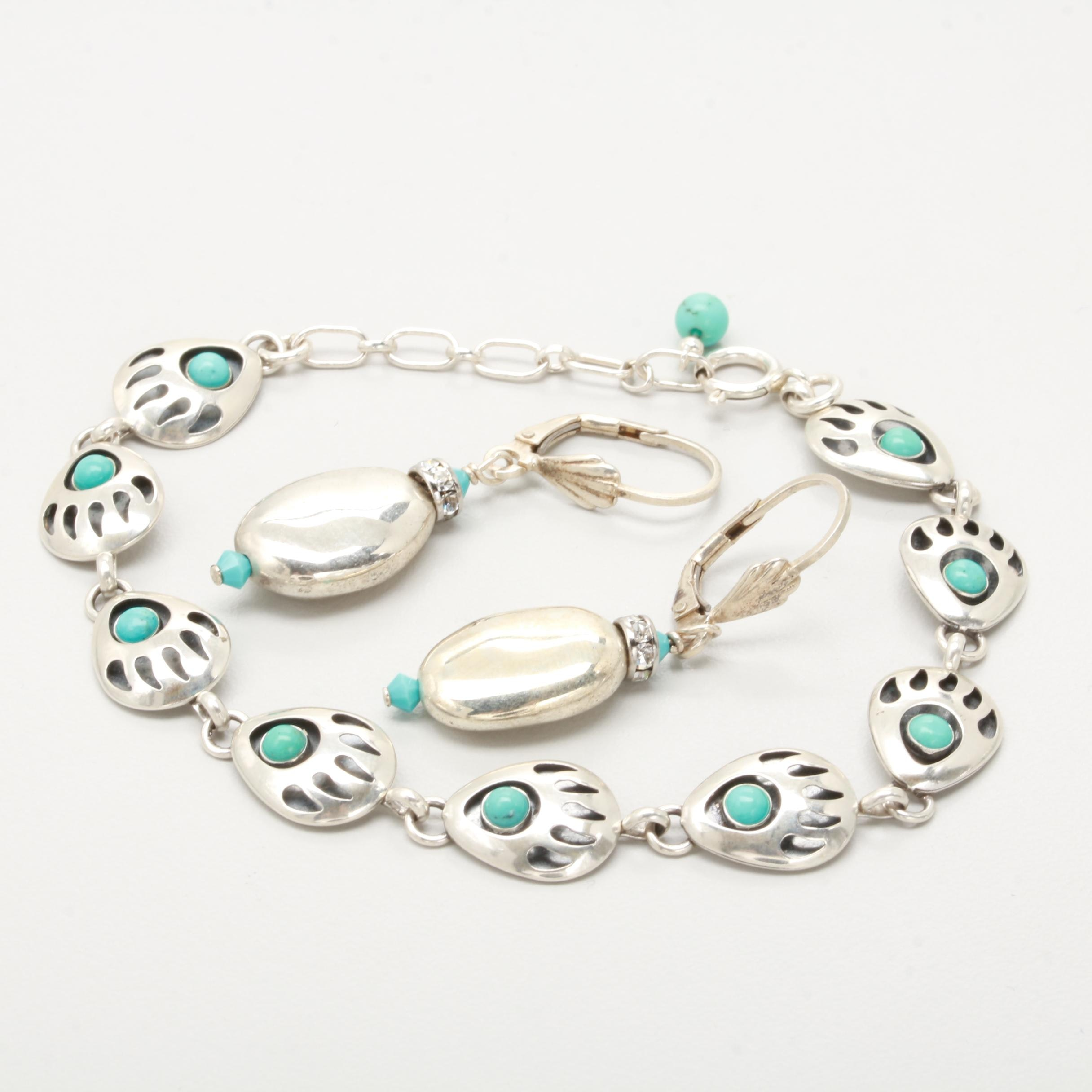 Southwestern Style Sterling Silver Jewelry Selection Including Turquoise