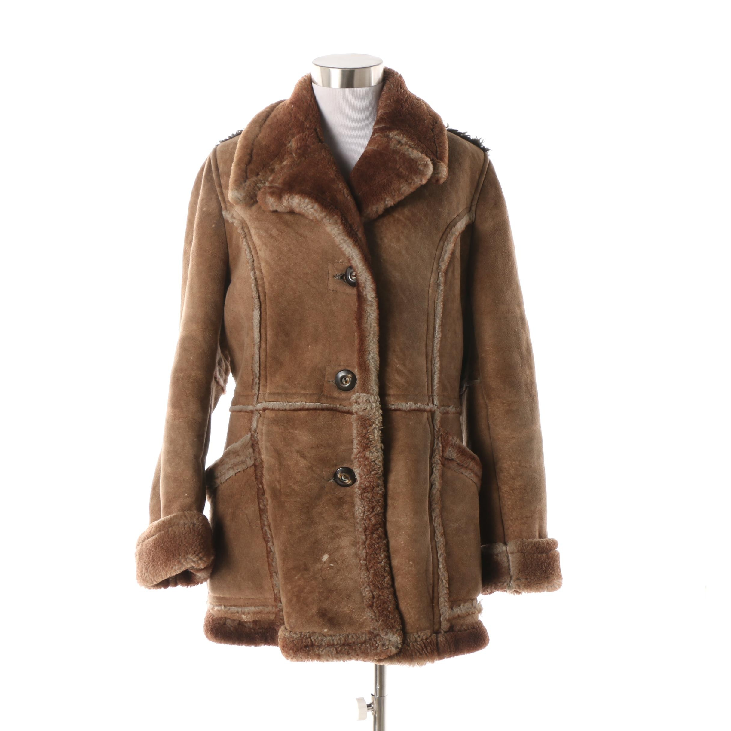 Women's 1970s Vintage Shearling by Lawrence Brown Suede and Shearling Coat
