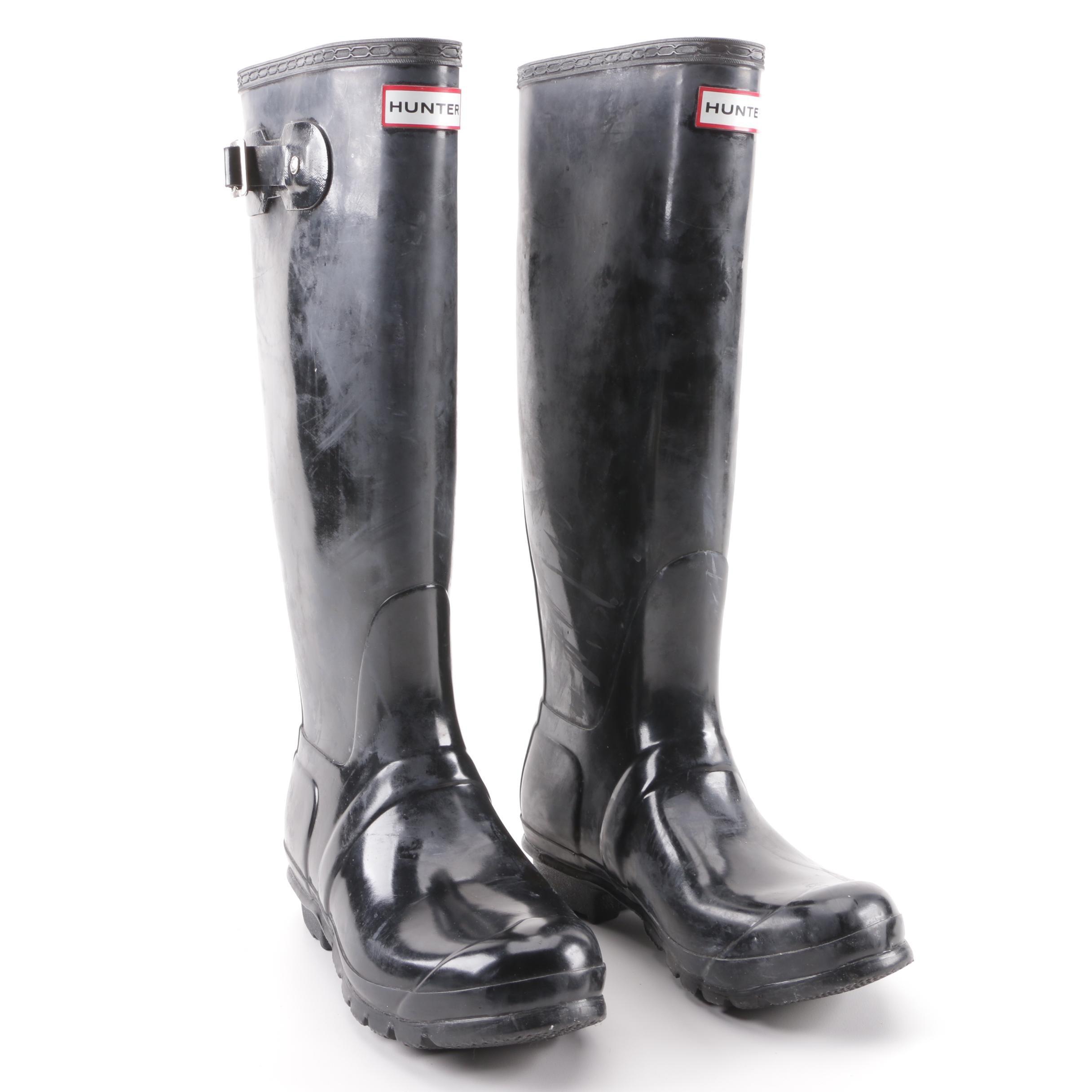 Women's Hunter Original Tall Gloss Black Rubber Rain Boots
