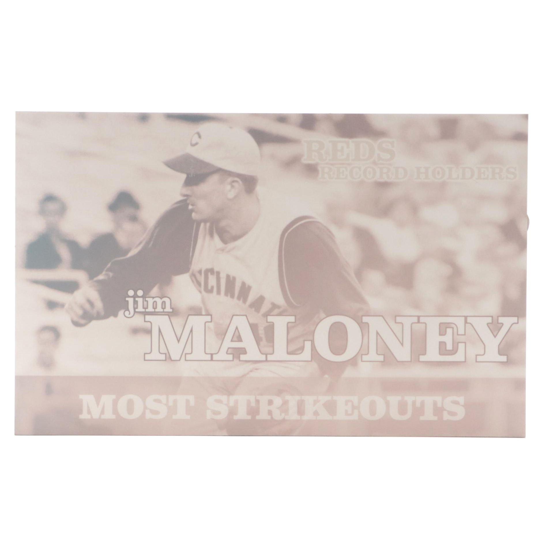 "Large Jim Maloney ""Most Strikeouts"" Exhibit Display"