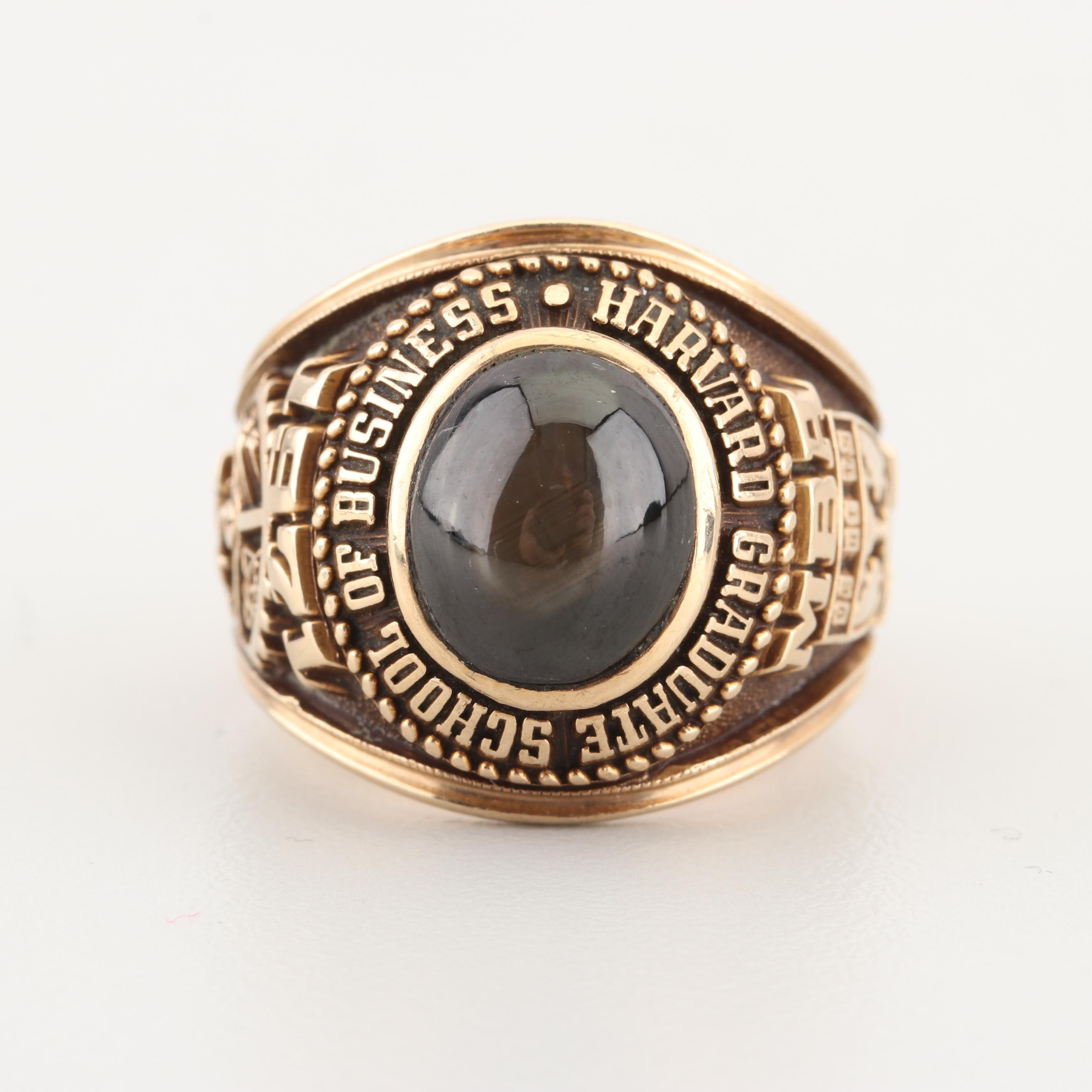1971 10K Yellow Gold Harvard School of Business Black Star Sapphire Ring