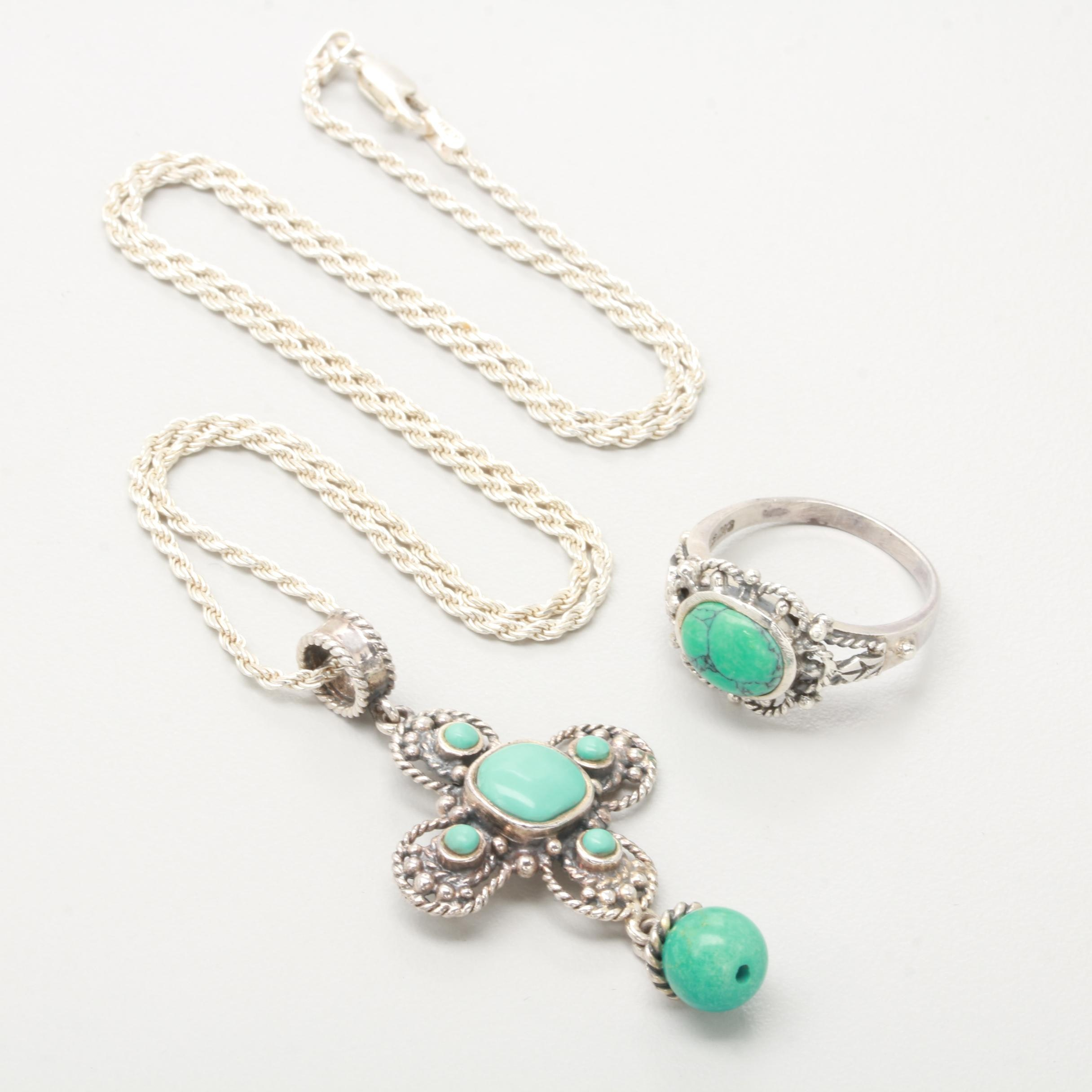 Sterling Silver Jewelry Selection Including Reconstructed Turquoise