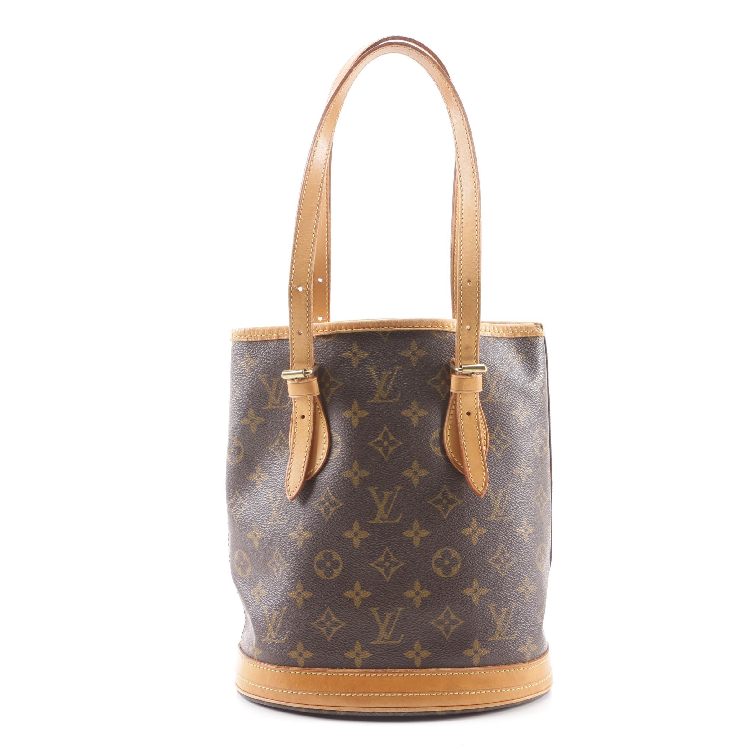 1998 Vintage Louis Vuitton Paris Monogram Canvas Petite Bucket Bag