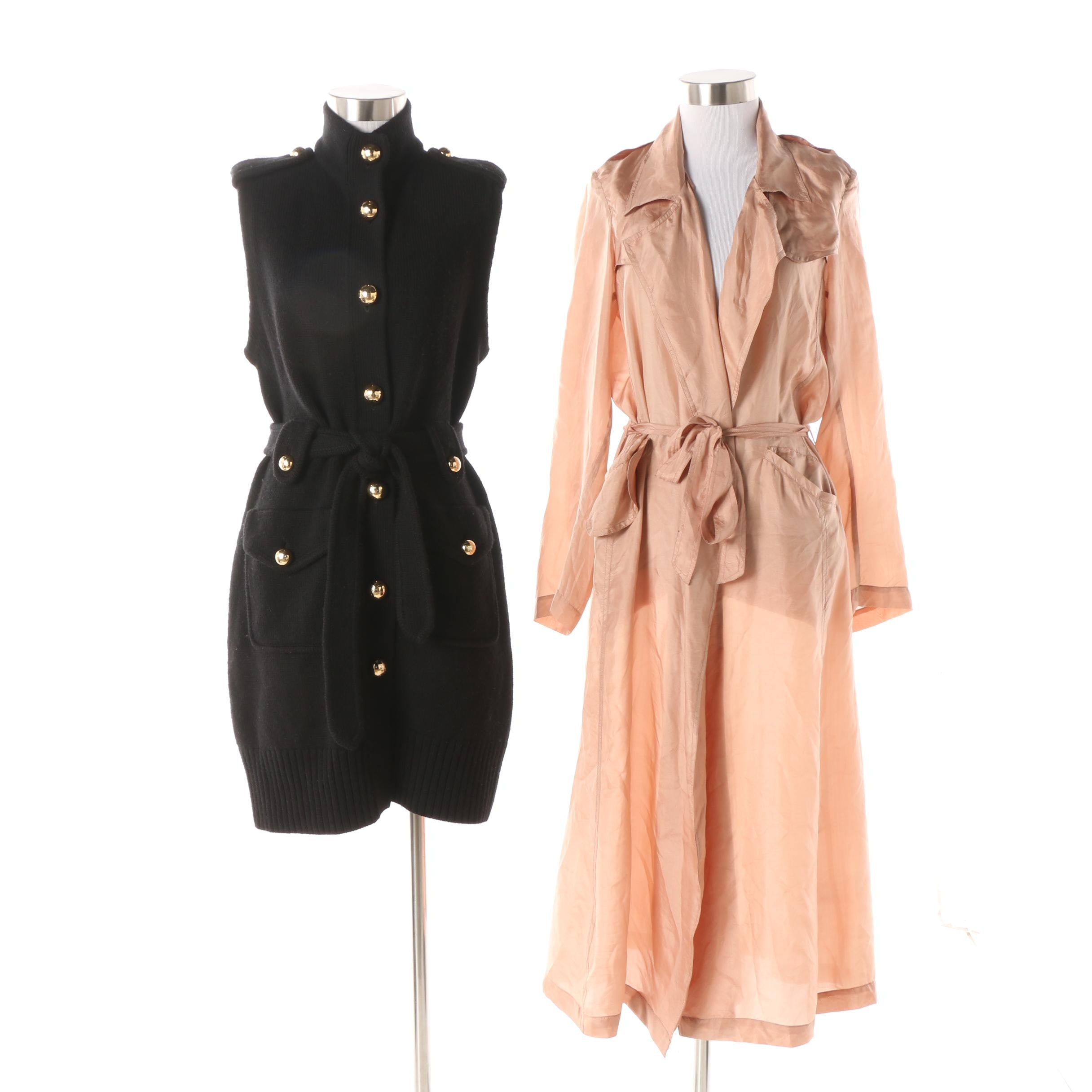 Women's Tory Burch Knit Jacket and Mes Demoiselles Paris Theodore Trench Coat